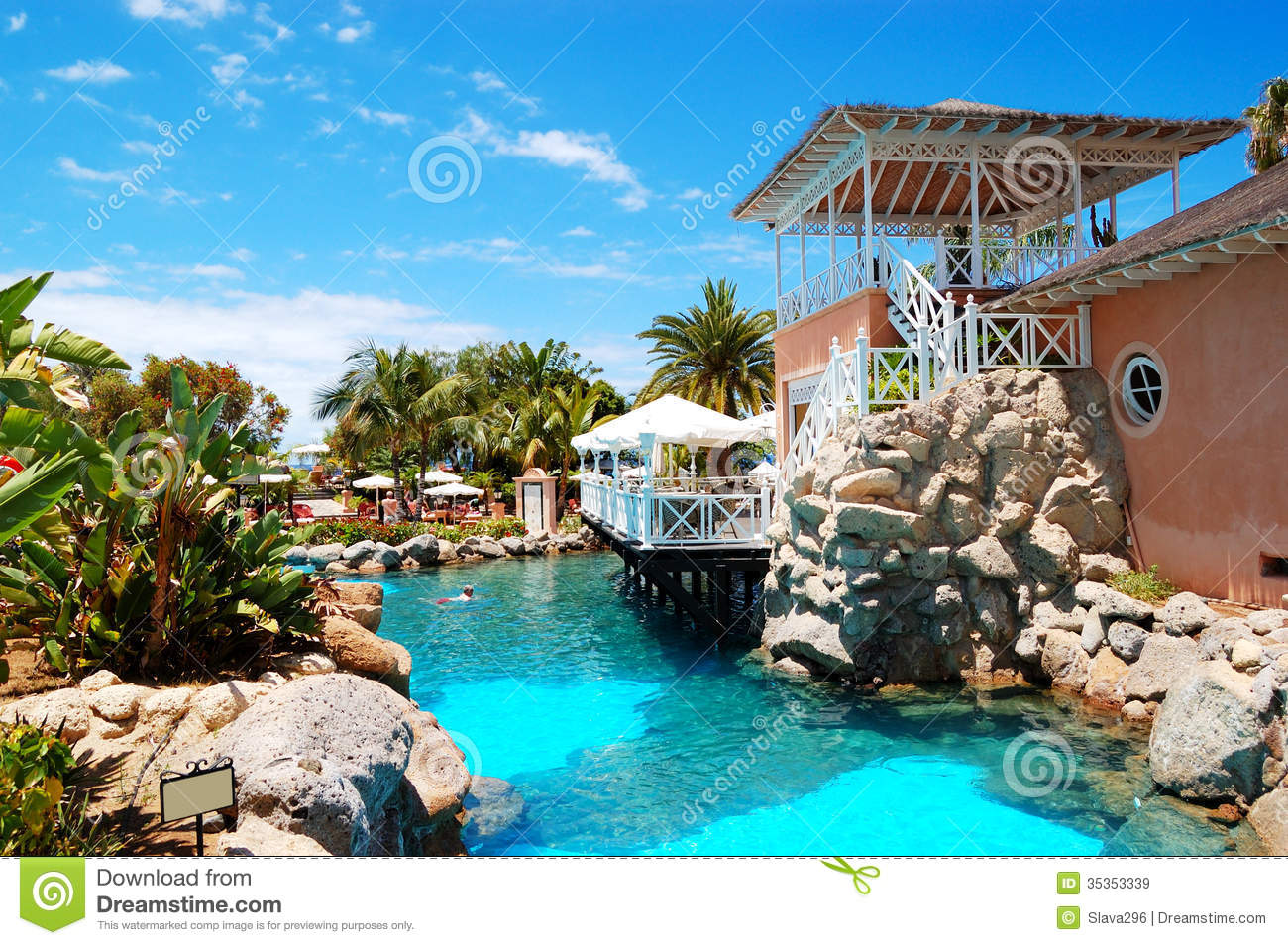 Swimming Pool Near Open Air Restaurant At Luxury Hotel Stock Image Image 35353339