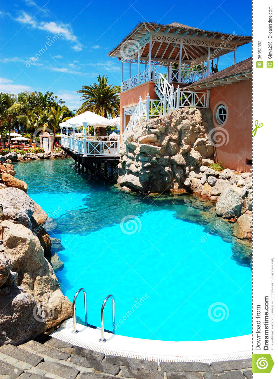 Swimming Pool Near Open Air Restaurant At Luxury Hotel Stock Photos Image 35353393