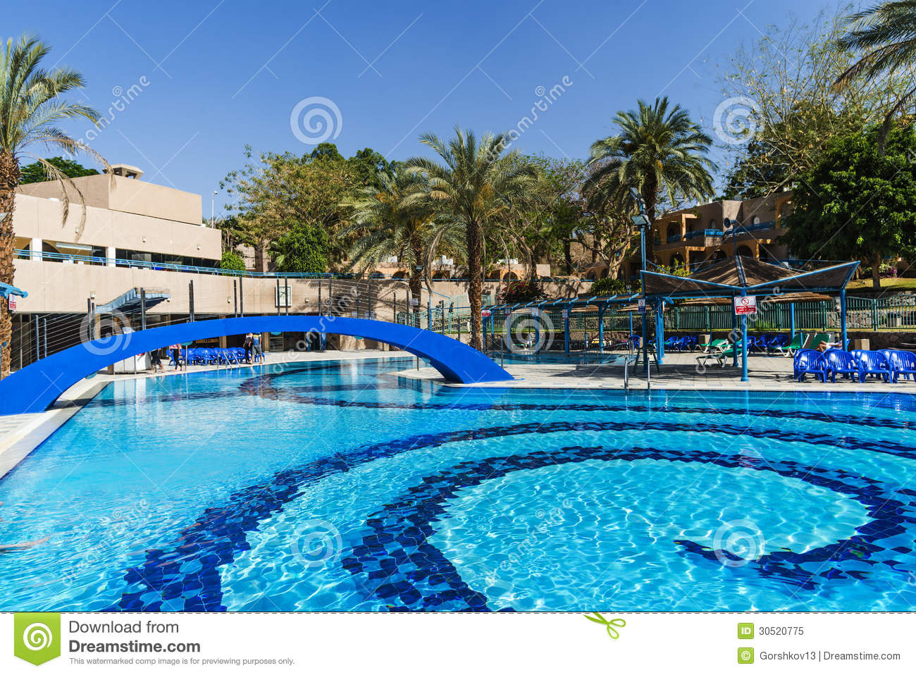 Swimming pool near resort hotels eilat israel royalty free stock photo image 30520775 for Hotels in jerusalem with swimming pool