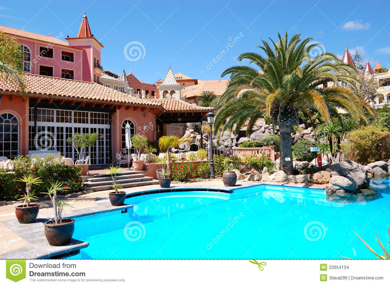 Swimming Pool Near Restaurant At Luxury Hotel Stock Images Image 22654134