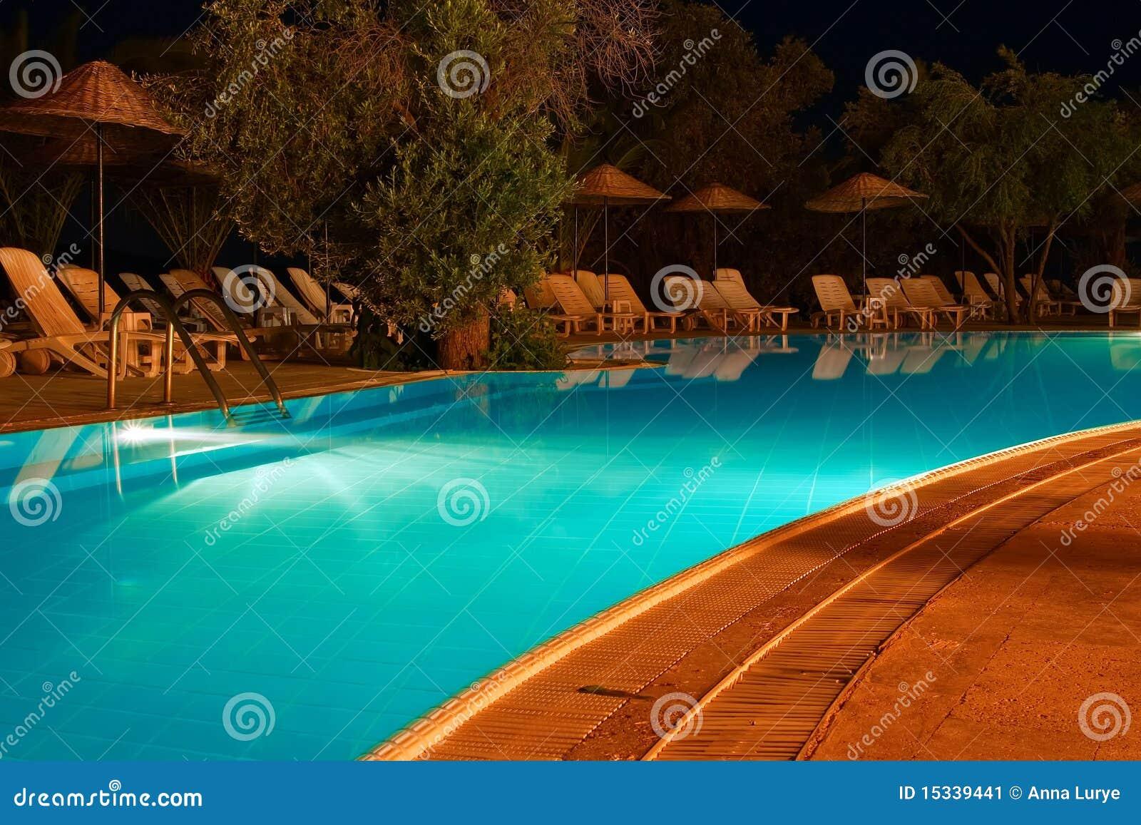 Swimming Pool At Night Stock Image Image 15339441