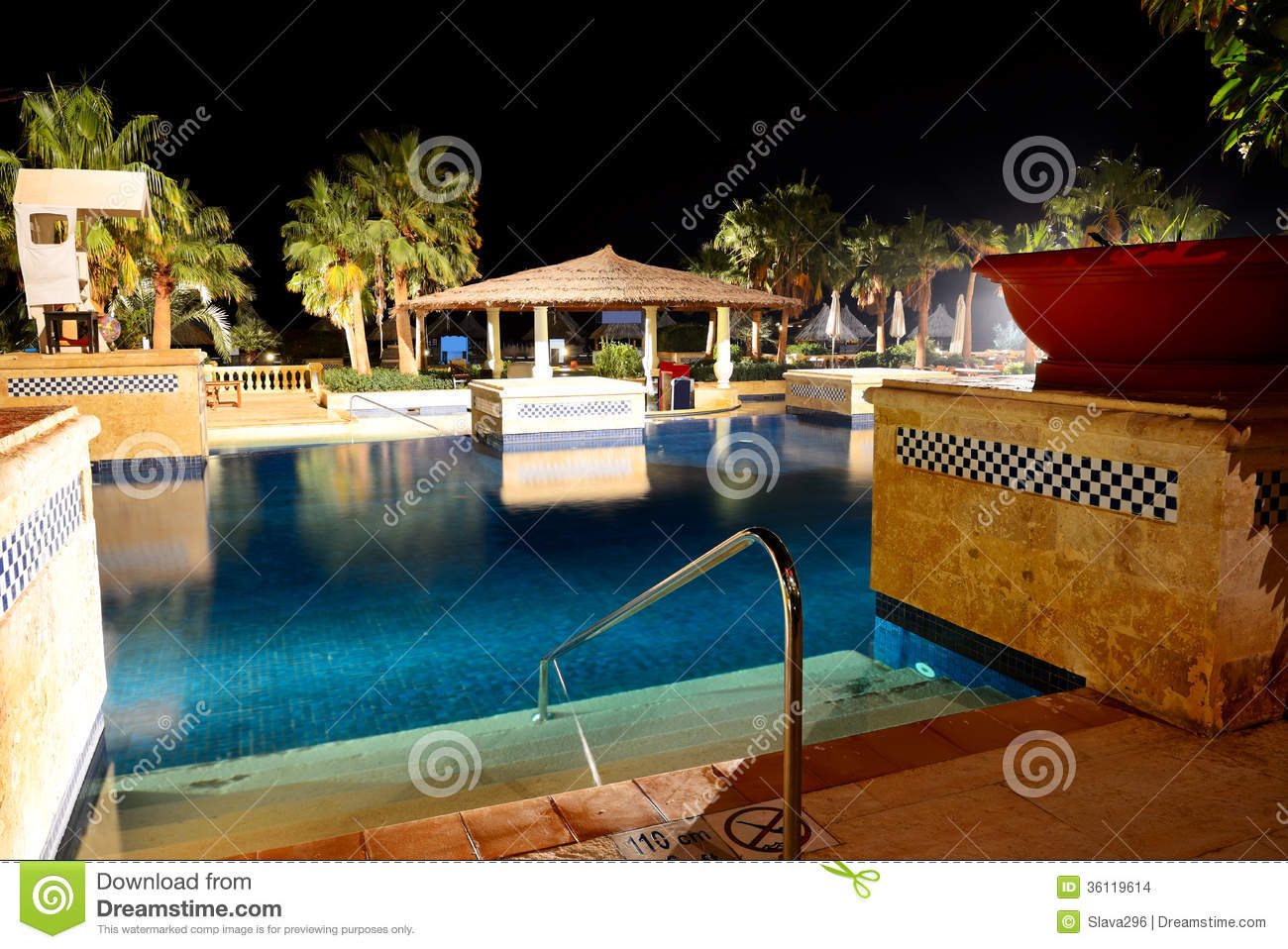 Hotel And Swimming Pool At Night Royalty Free Stock Photography 39394223
