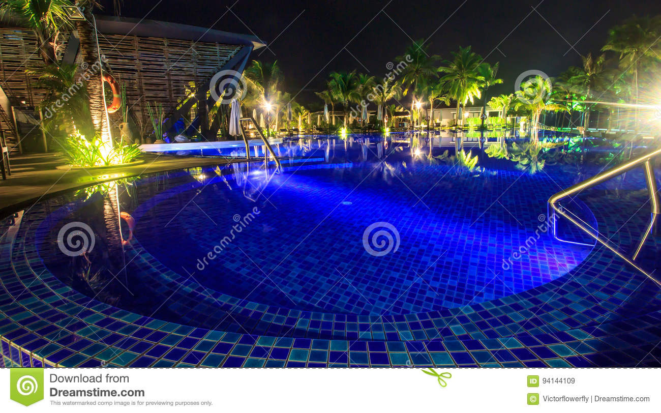 Swimming Pool At Night On The Tropical Beach Stock Image