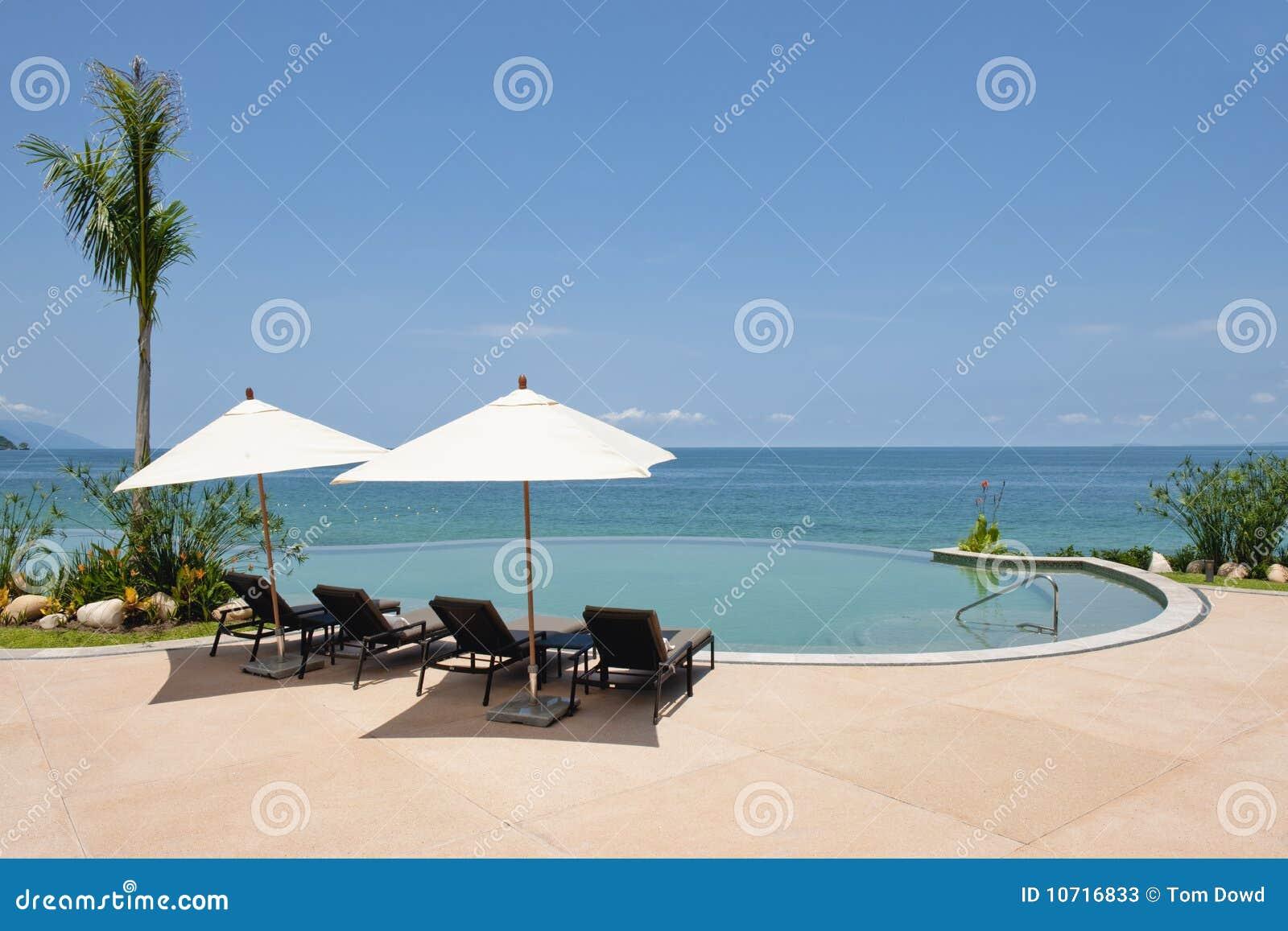 Swimming pool by ocean