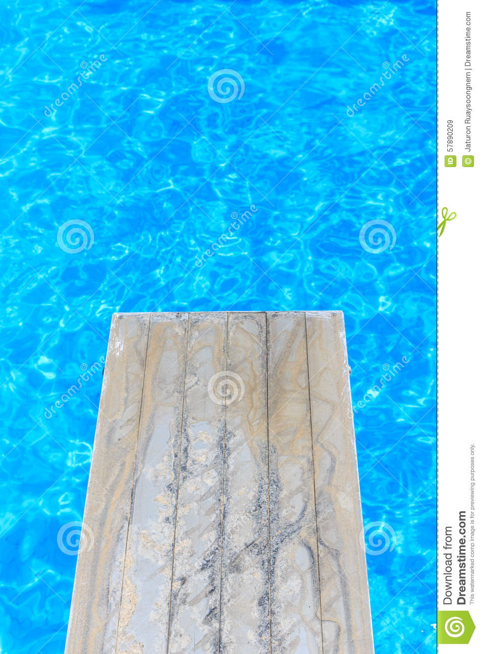 Swimming Pool With Old Wooden Diving Board Stock Photo Image 57890209