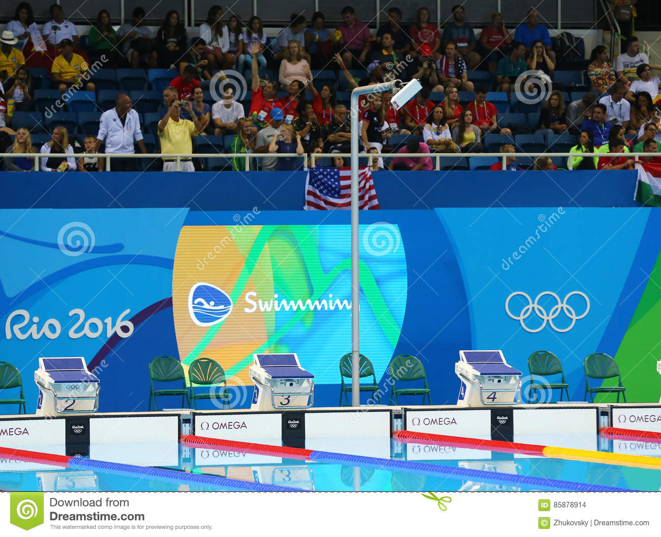 Swimming pool at Olympic Aquatic Center during Rio 2016 Olympic Games