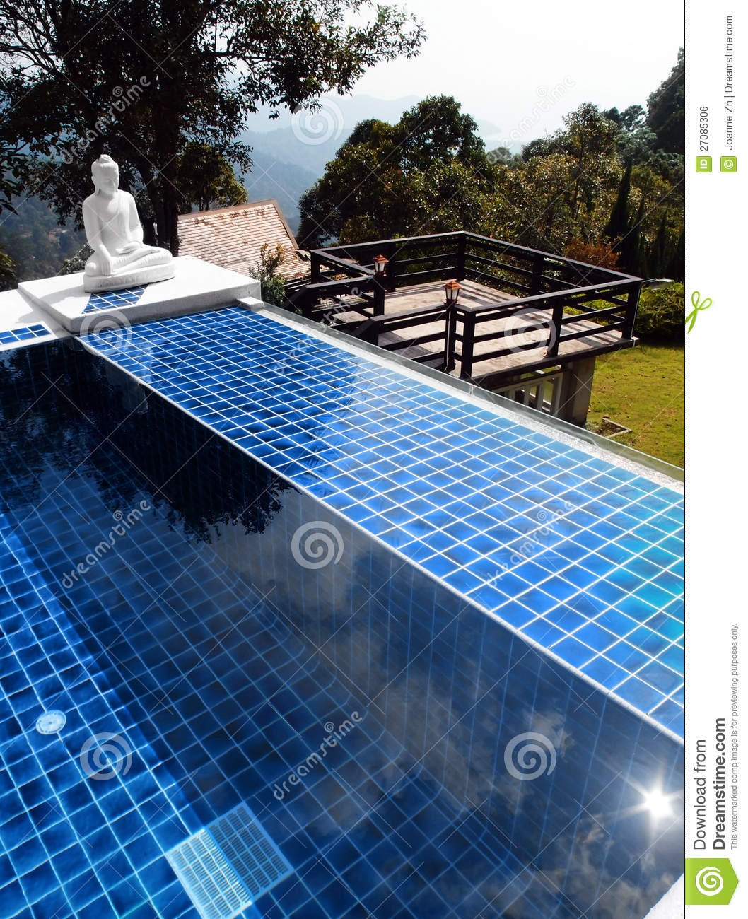 Swimming Pool With Oriental Buddha Statue Royalty Free