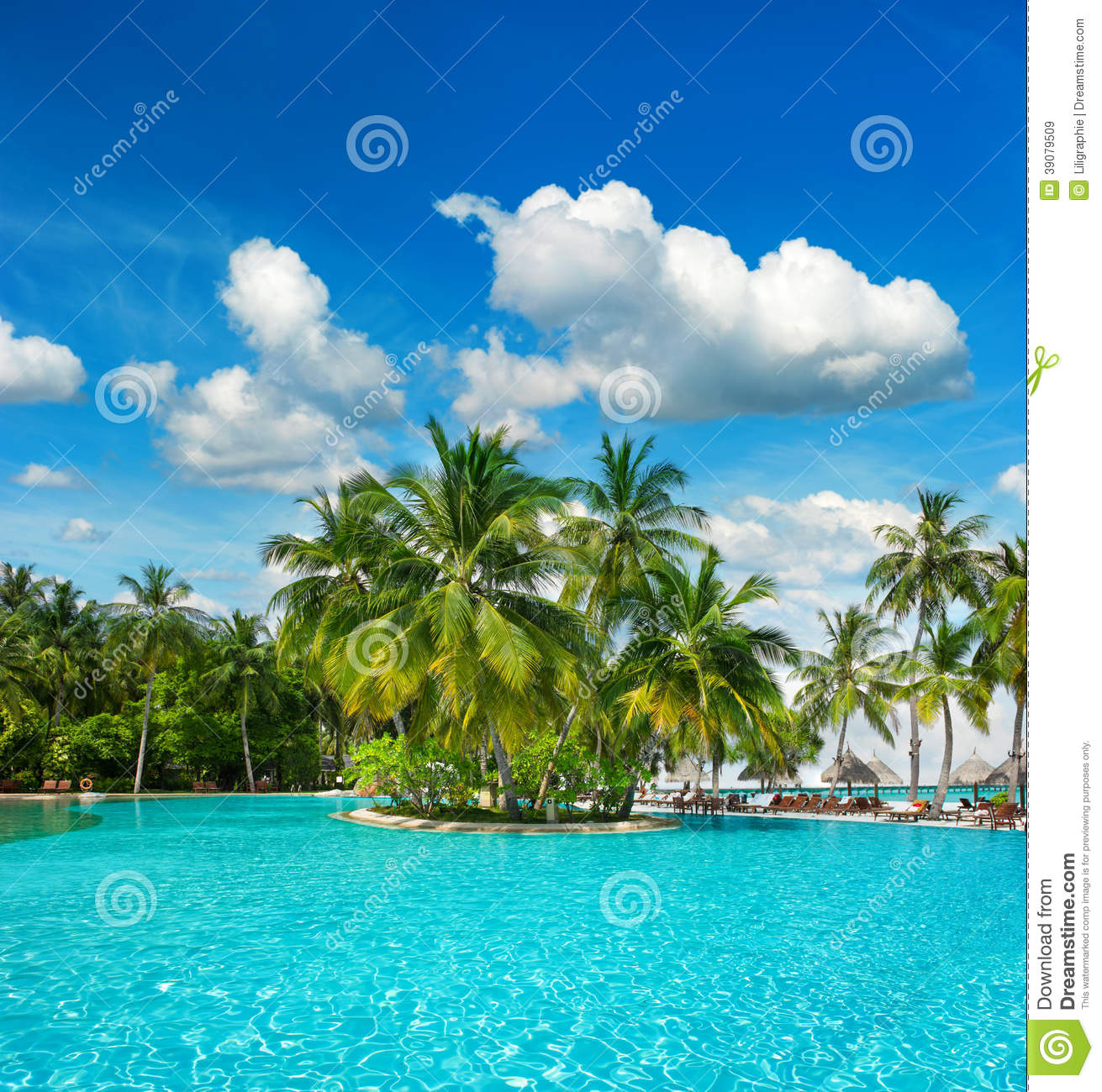 Pool Surrounded By Palm Trees Royalty Free Stock Photography 73311443