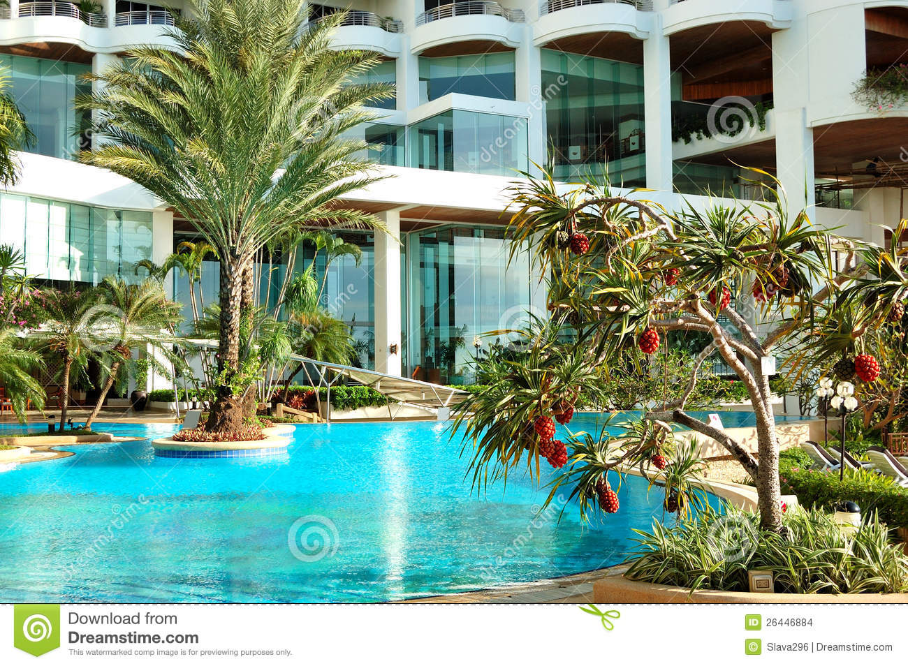 Swimming Pool And Palm Trees At The Luxury Hotel Stock Photo Image 26446884