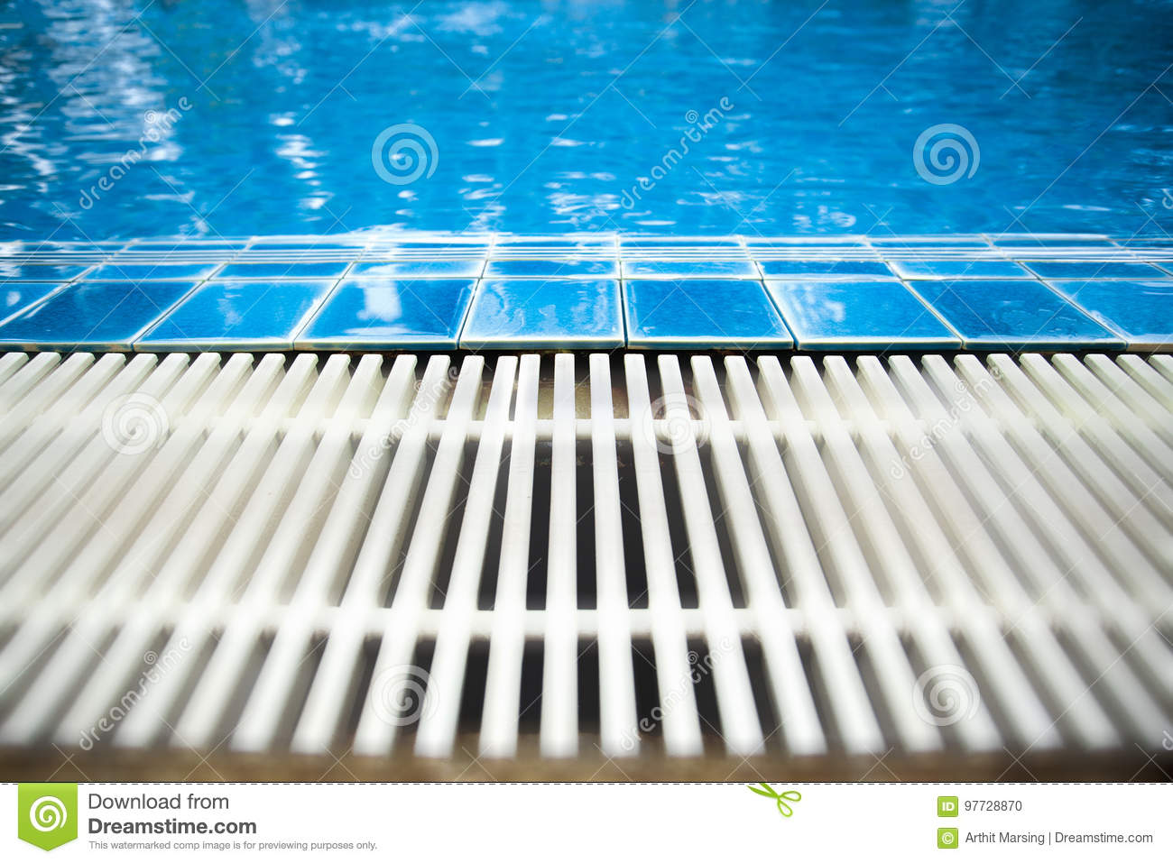 Swimming pool the picture took from the edge of swimming pool which provide by blue tiles and gutter drainage. Can be use as backg
