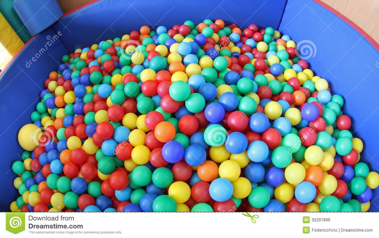 Swimming Pool With Plenty Of Colorful Plastic Balls Royalty Free Stock ...