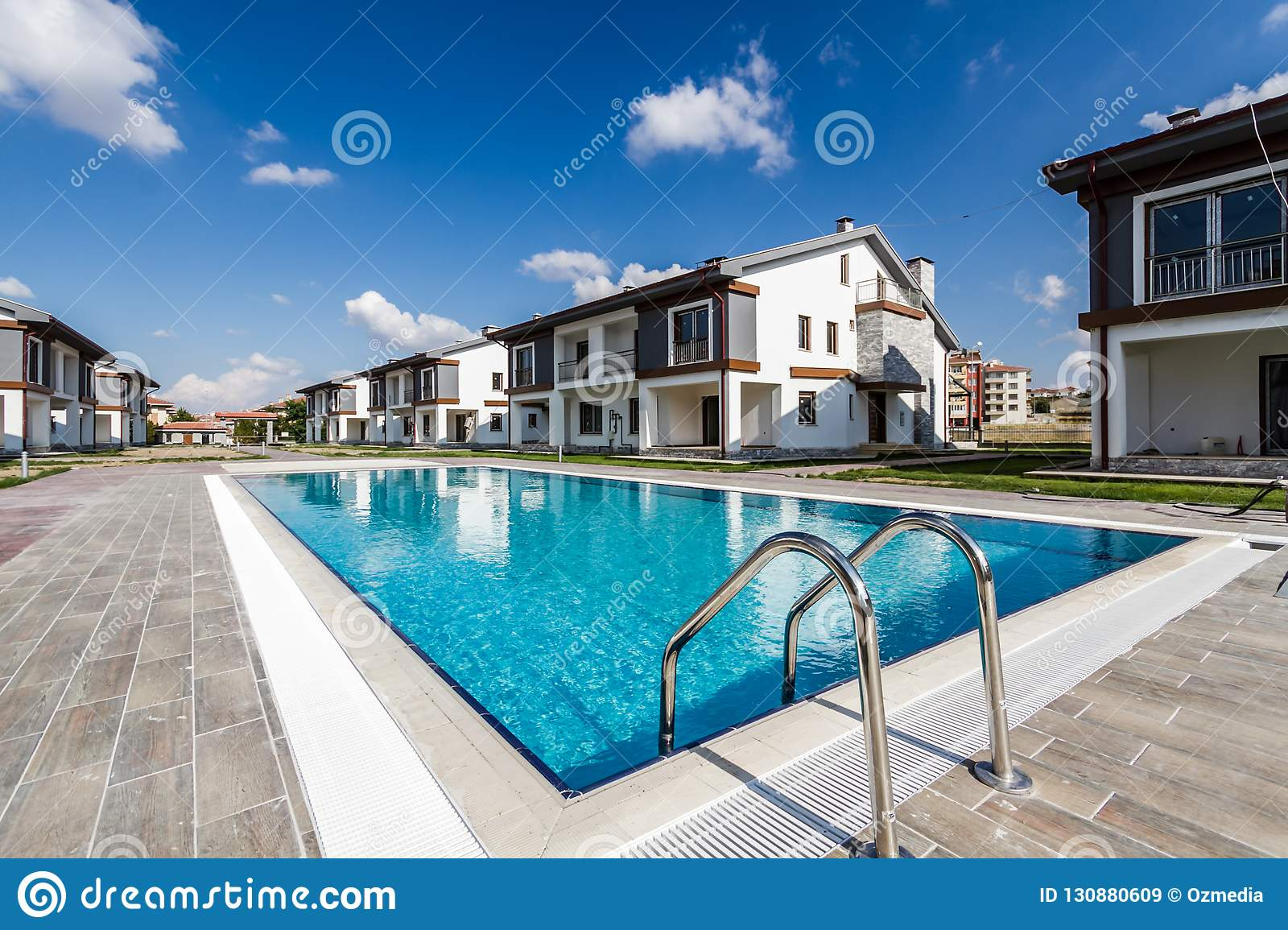 7a2e2edcddce Communal swimming pool for residents of a newly built apartments site