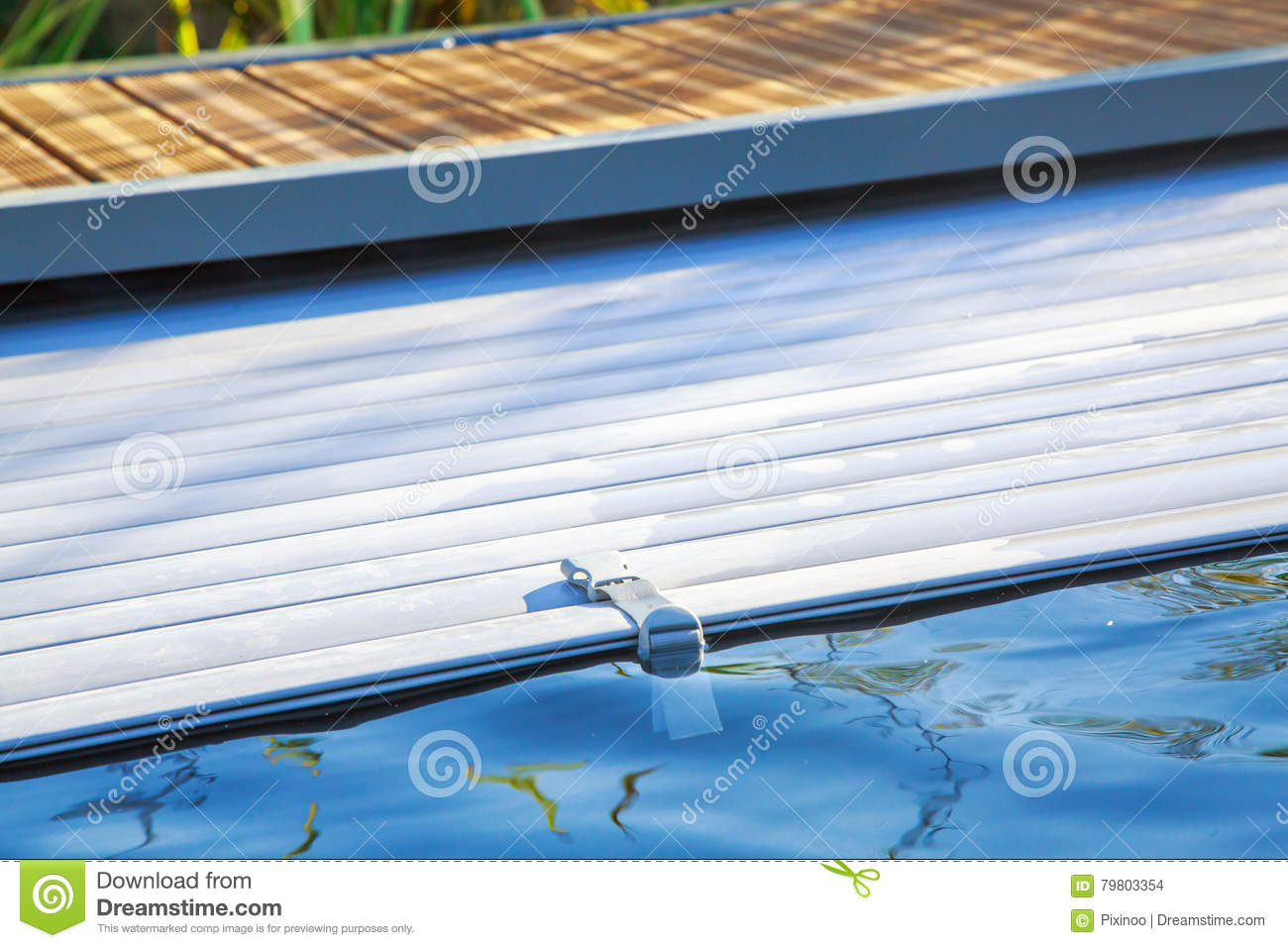 Delightful Swimming Pool Roller Shutter Covers Stock Photo   Image Of Pool, Electric:  79803354
