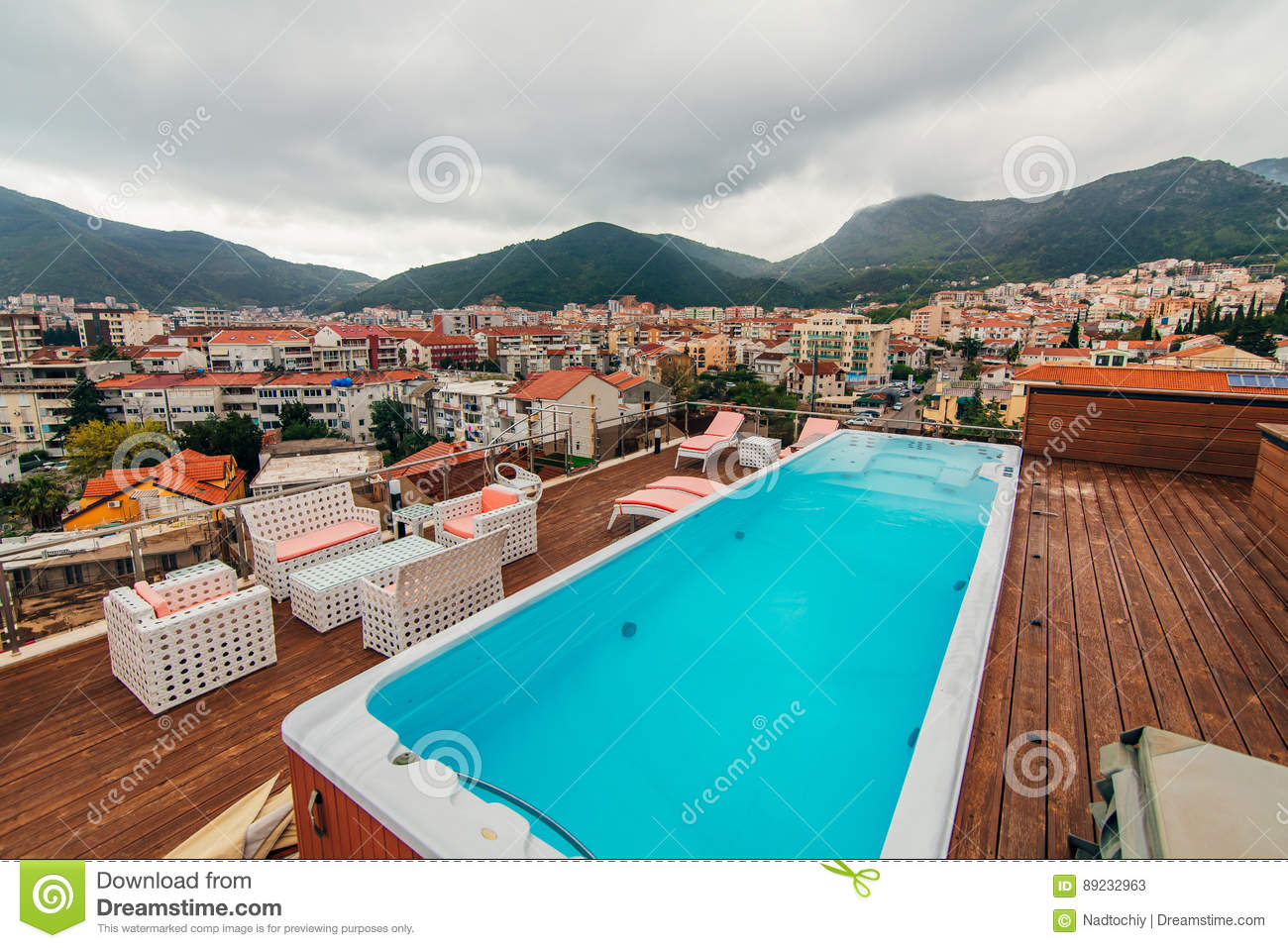 Swimming pool on the roof of a house editorial stock photo for House with pool on roof