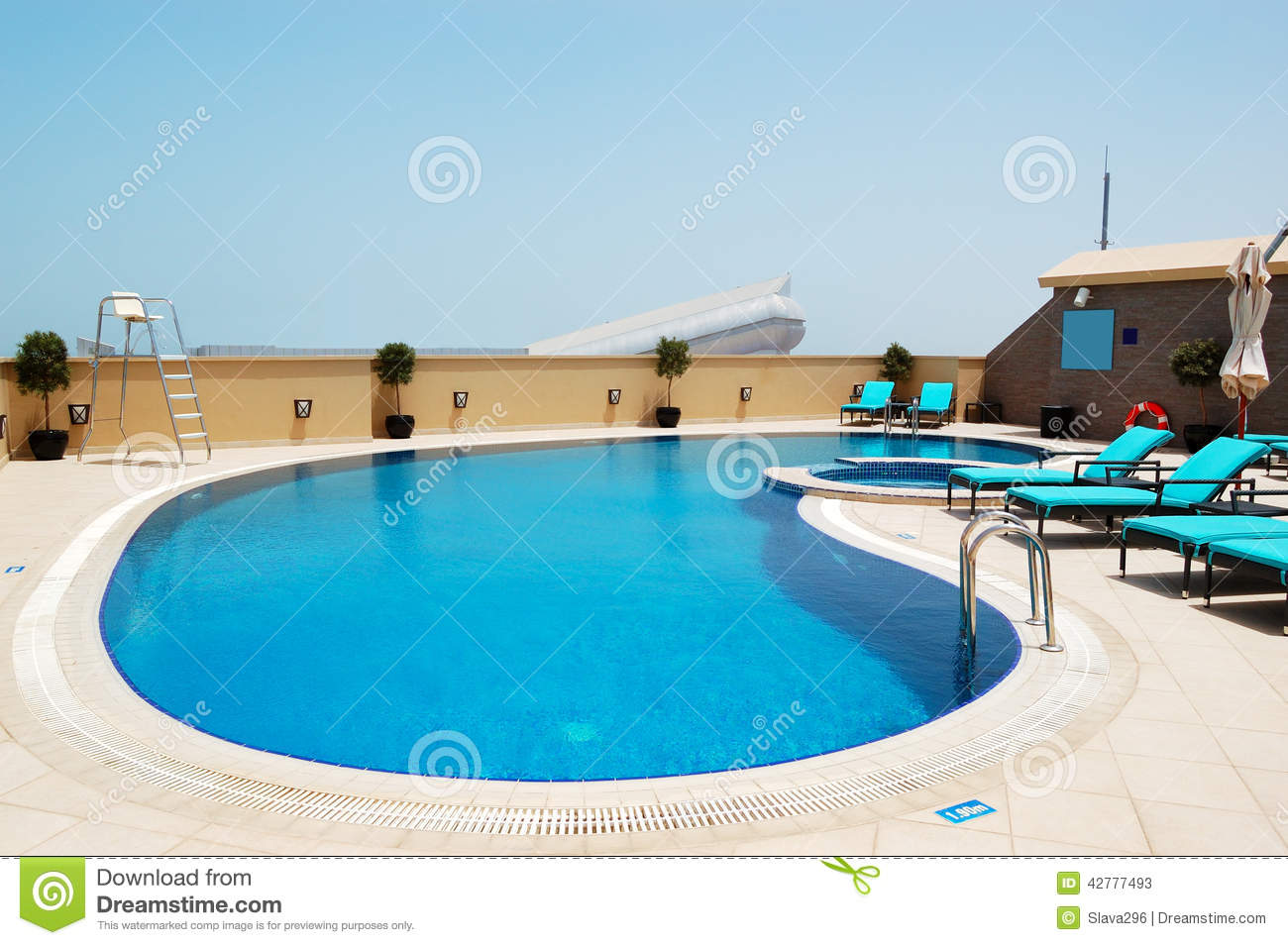Swimming Pool On The Roof Of Luxury Hotel With View On Ski Dubai Stock Image Image 42777493