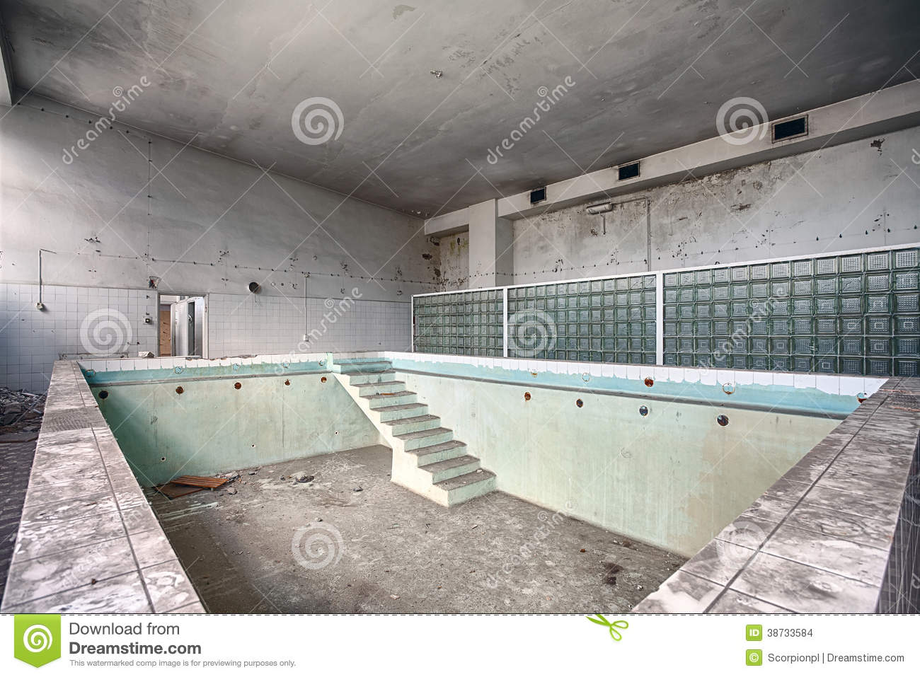 Swimming pool in a ruined building stock images image for What to do with old swimming pool