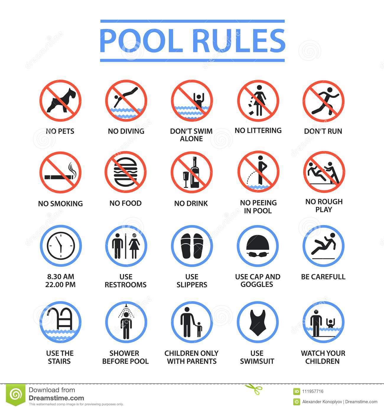 Pool cartoons illustrations vector stock images 34143 pictures to download from for Swimming etiquette public pool