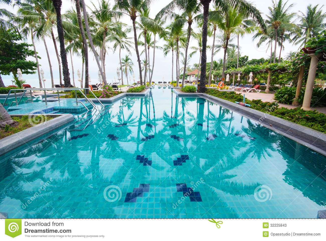 Swimming Pool Beside The Sea With Coconut Tree Stock