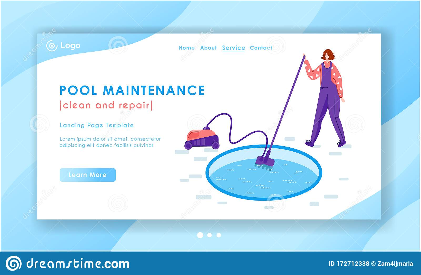 Swimming Pool Searvcice Flat Concept Stock Vector Illustration Of Maintenance Cleaning 172712338