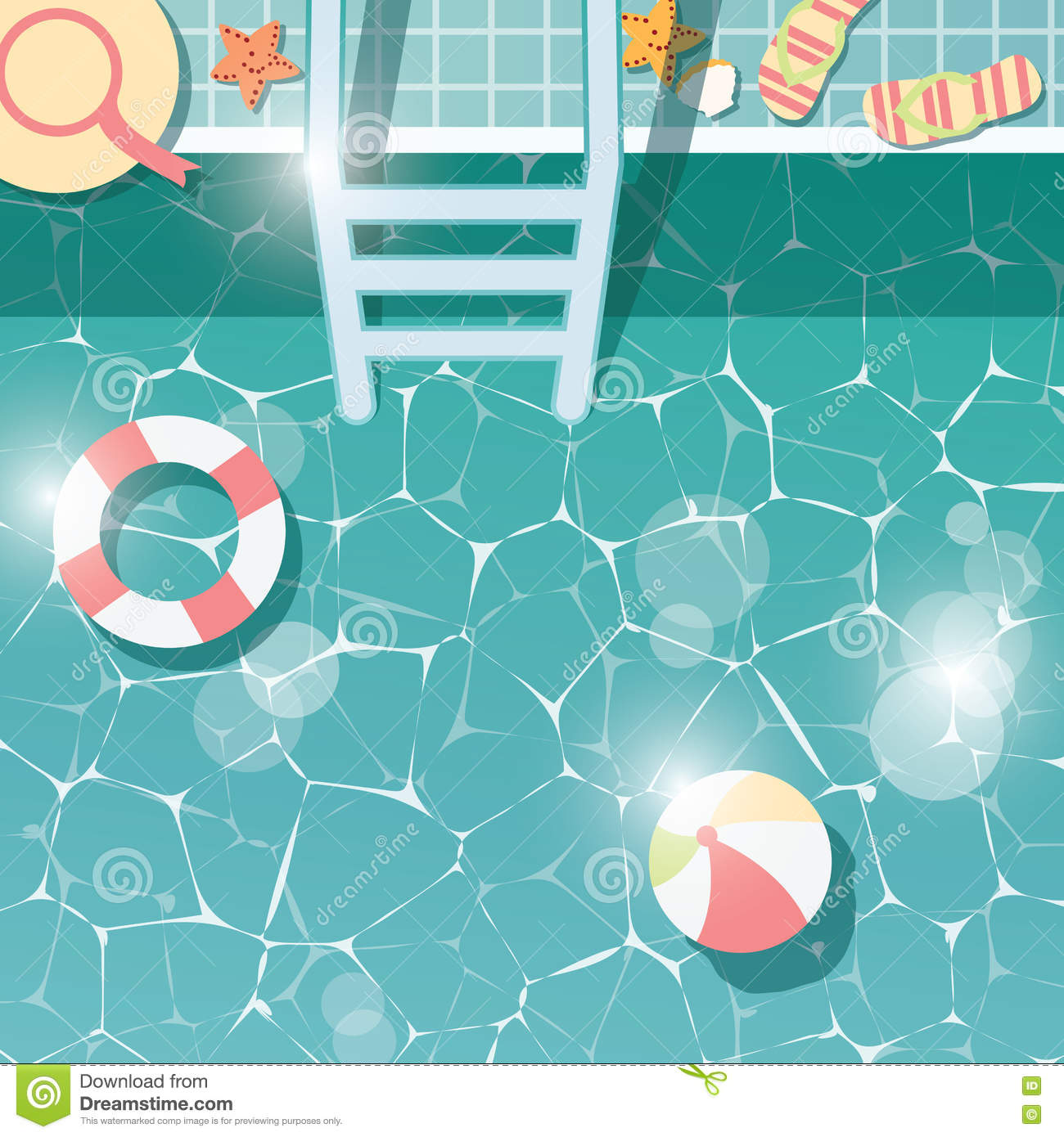 pool water with beach ball. Swimming Pool Side, Top View, Summer Time Holiday Vacation, Clear Water With Beach Items Ball H