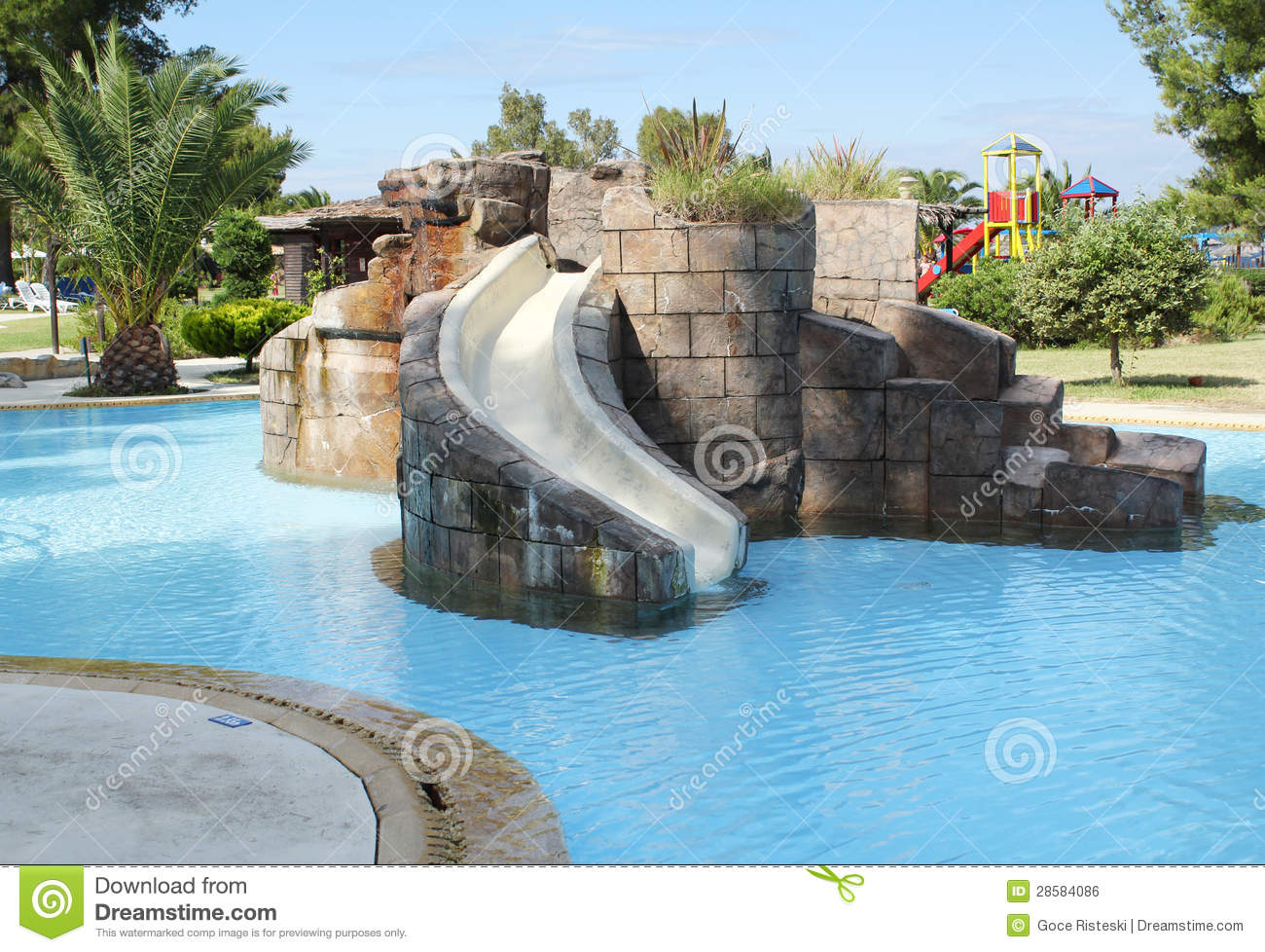 Swimming pool with slide stock photo image of slide for Cheap above ground pools for sale