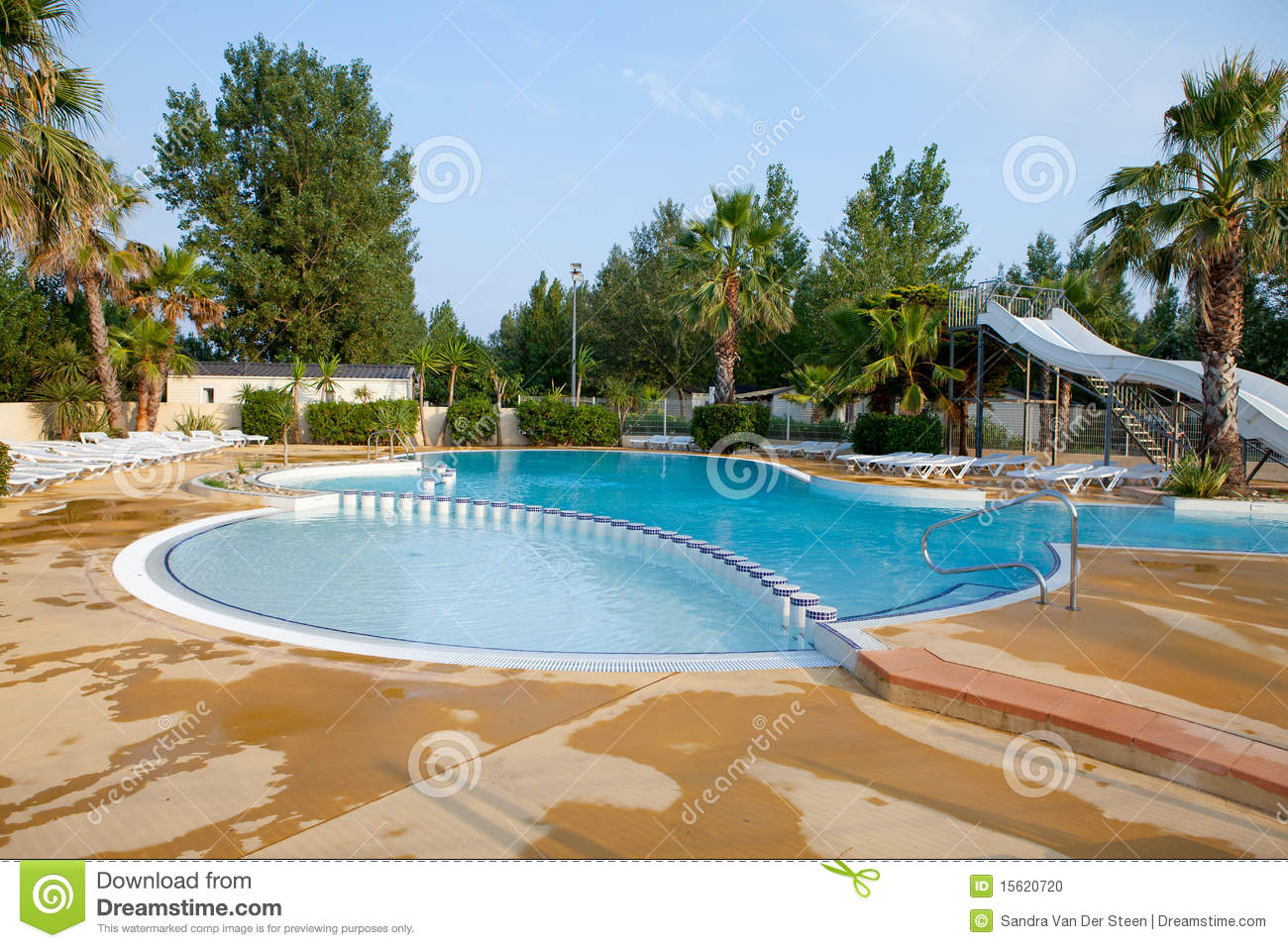Swimming pool with slides stock photo image of camping Swimming pools in surrey with slides