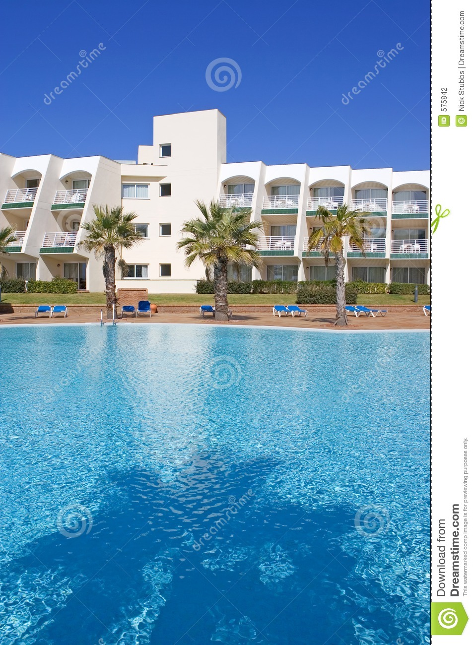 Swimming Pool In Spanish Hotel With Palm Trees Stock Photography Image 575842