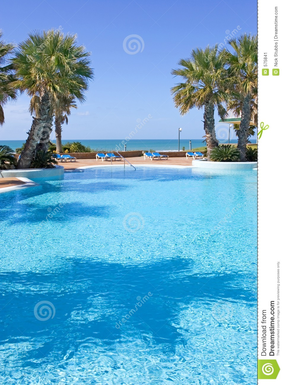 Swimming Pool In Spanish Hotel With Sea Views And Palm Trees Stock Image Image 575841