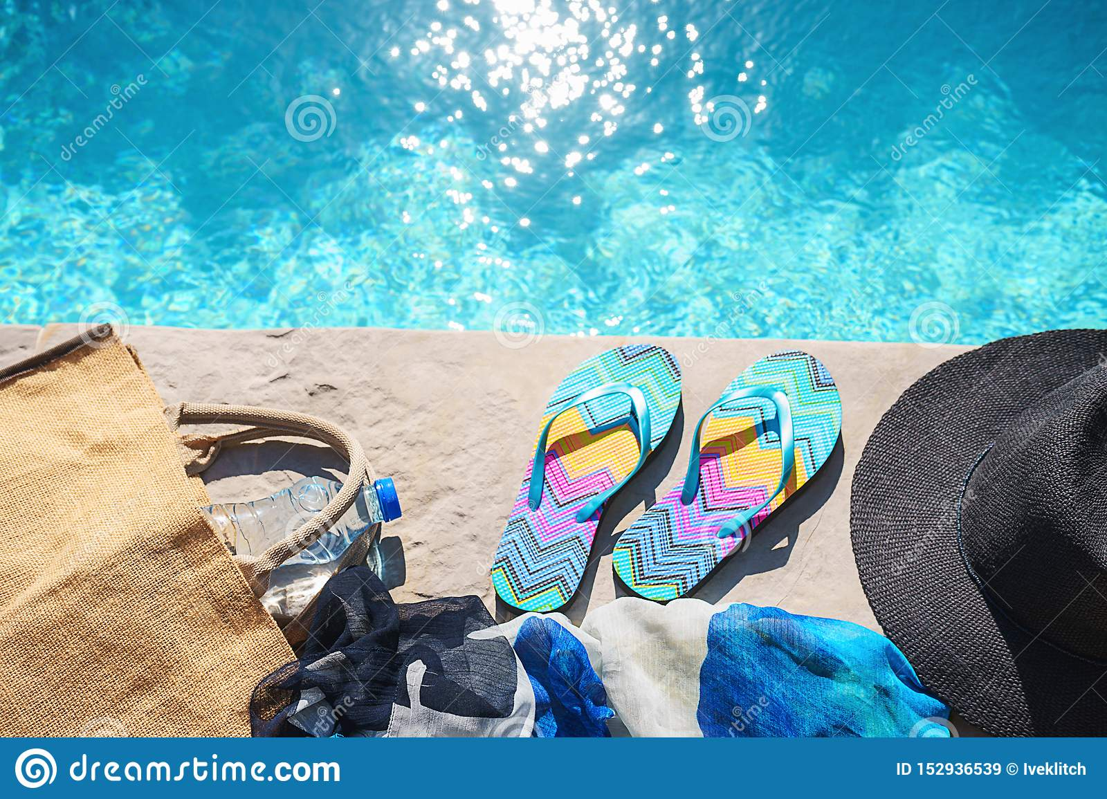 Swimming Pool And Straw Hat, Colorful Flip Flops, Wicker Bag ...