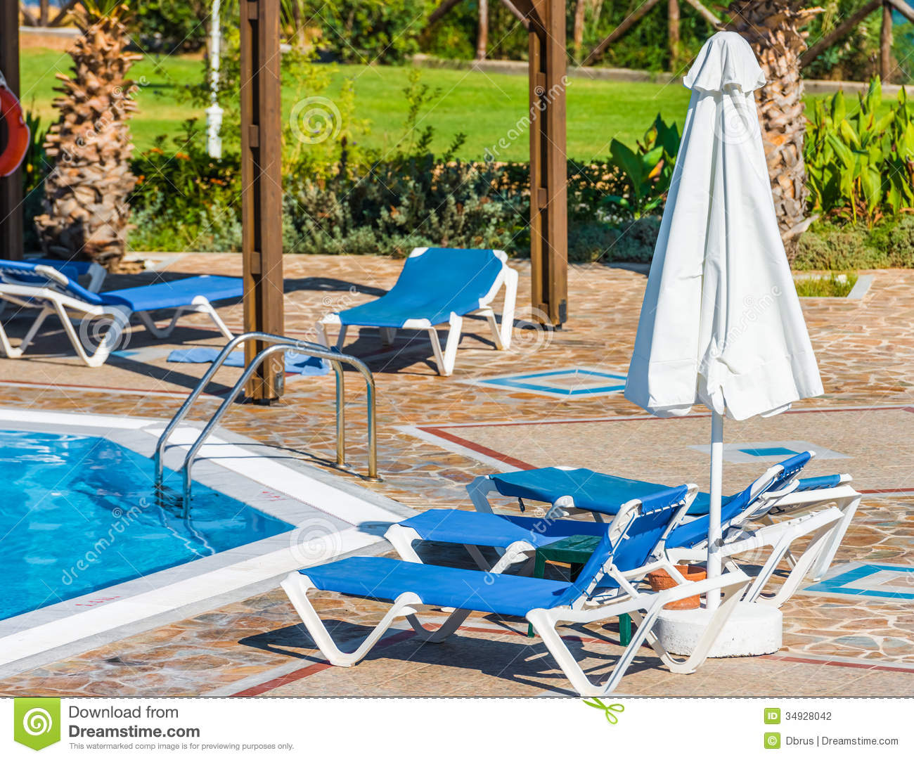 Swimming pool with sun loungers stock photography image for Swimming pool loungers