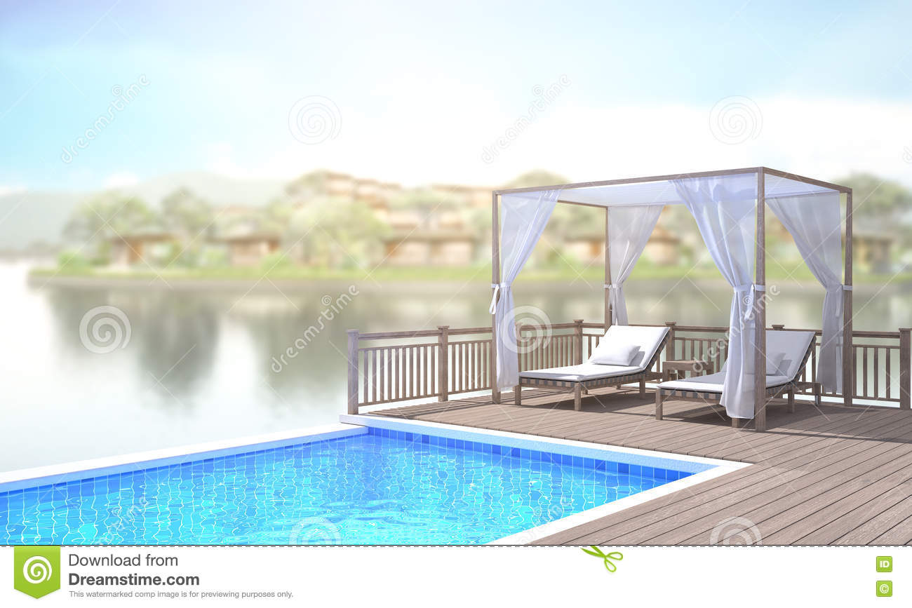 Swimming Pool And Terrace Of Blur Exterior Background Stock Photo   Image  Of Design, Architecture: 73529436