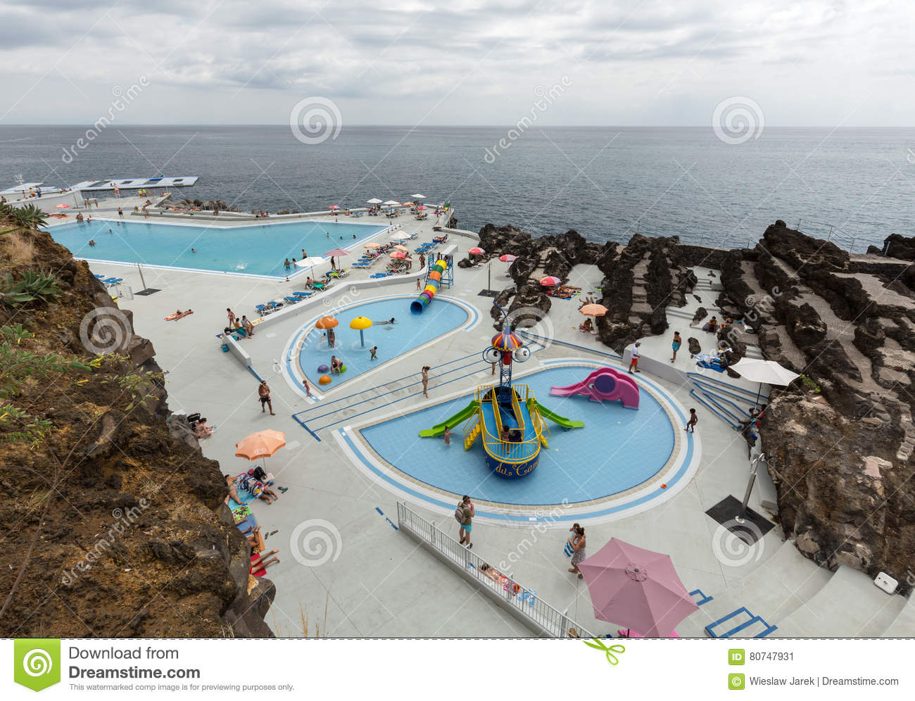 Swimming Pool With Tourists At Lido Hotels Zone In Funchal Madeira