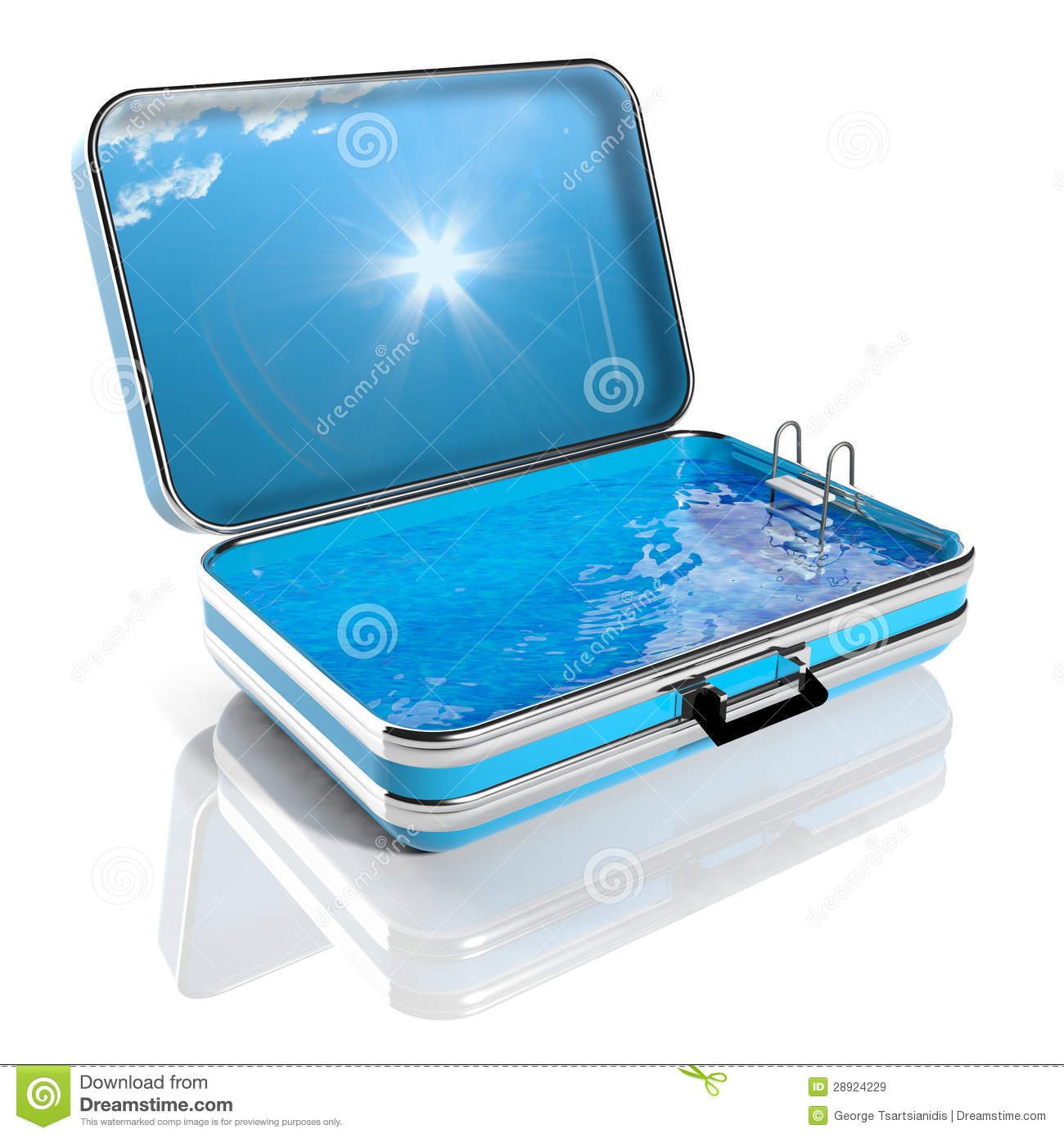 Swimming Pool Travel : Swimming pool in a travel suitcase royalty free stock