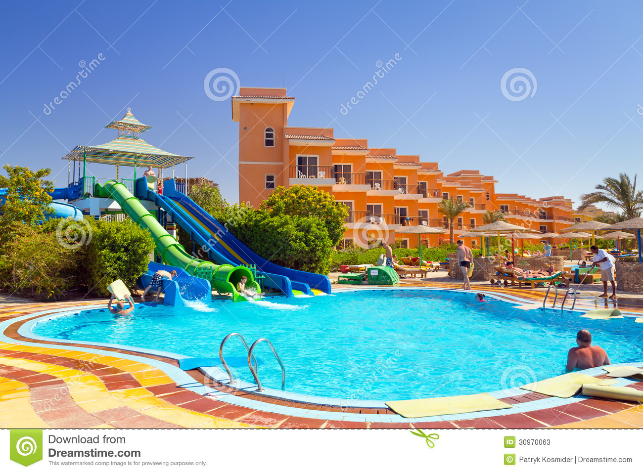 swimming pool at tropical resort in hurghada egypt editorial stock photo image 30970063. Black Bedroom Furniture Sets. Home Design Ideas