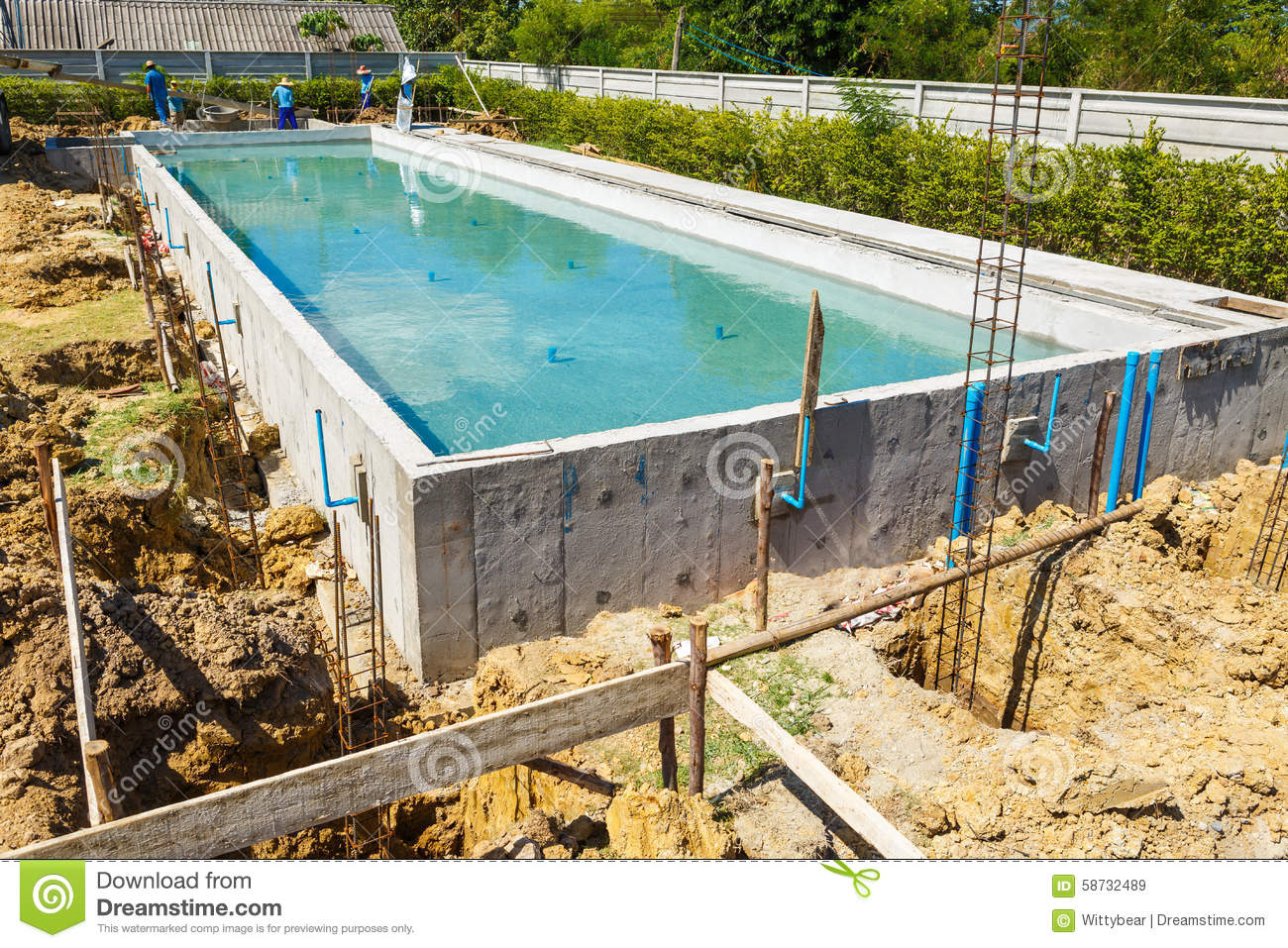 Swimming pool under construction stock image image 58732489 for Swimming pool construction company