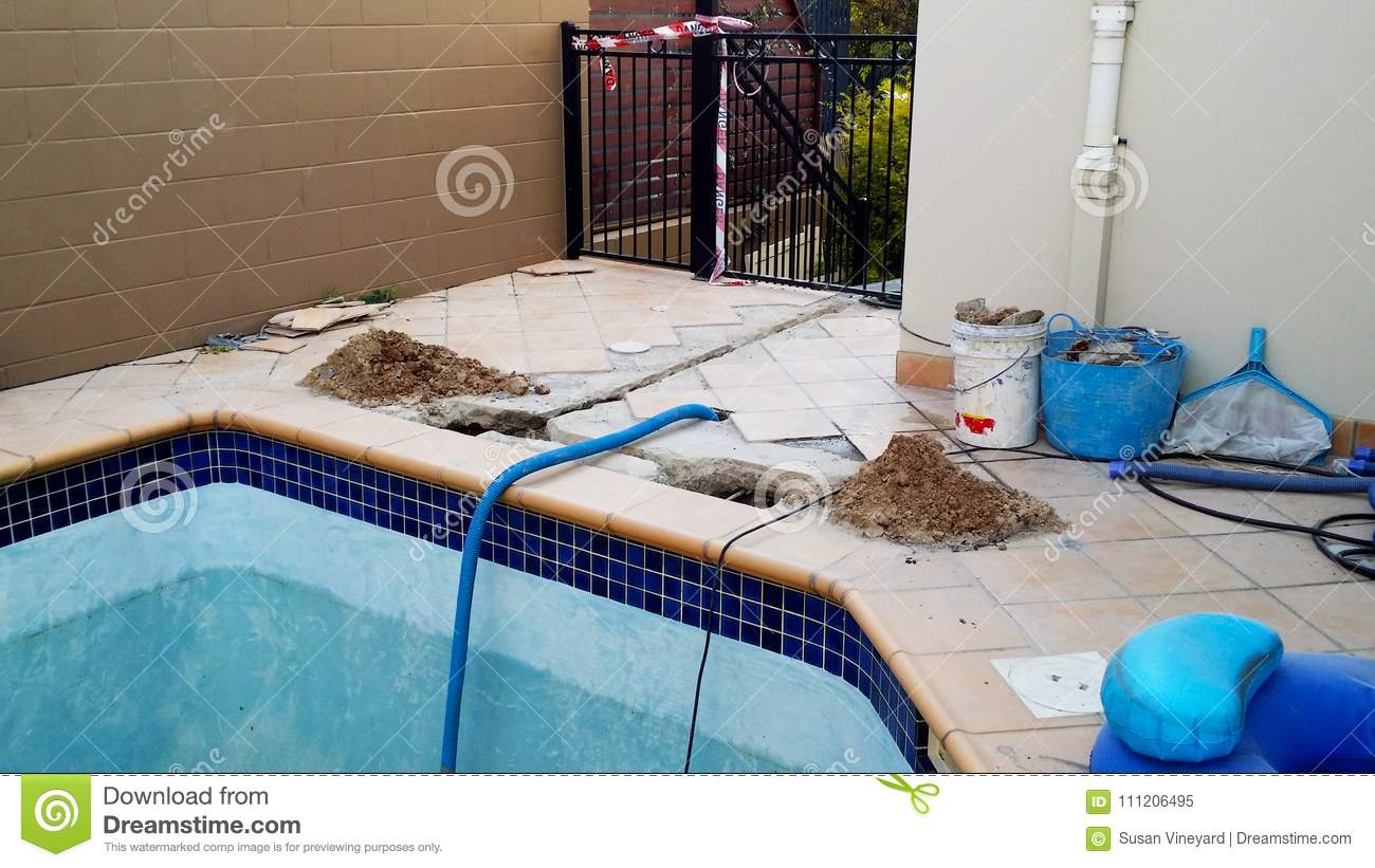 Swimming Pool Under Repair With Danger Tape Stock Image Image Of Decay Builder 111206495