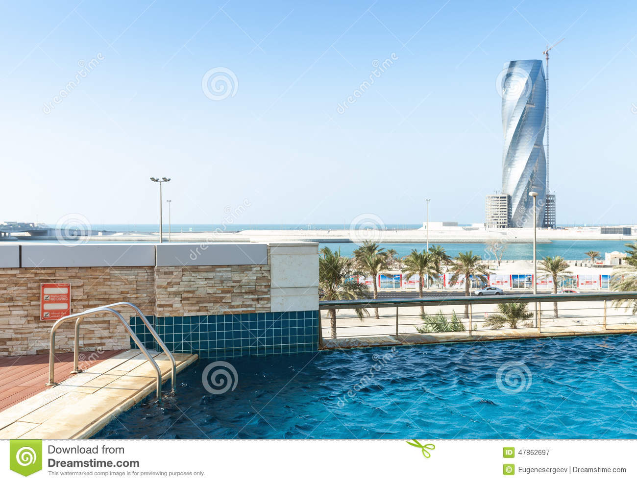 Swimming pool and united tower under construction for United international decor bahrain