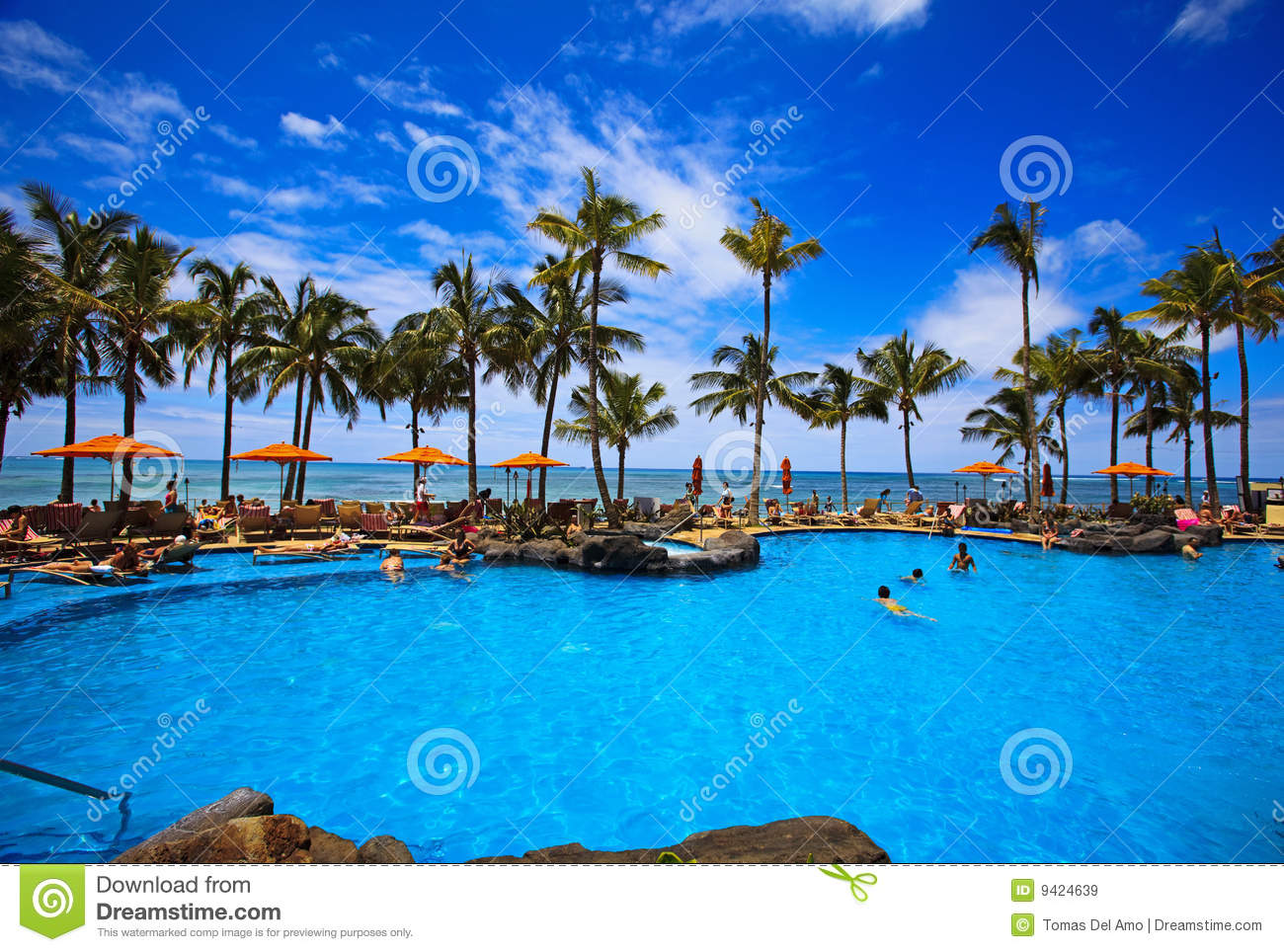 Swimming Pool On Waikiki Beach Hawaii Stock Image Image