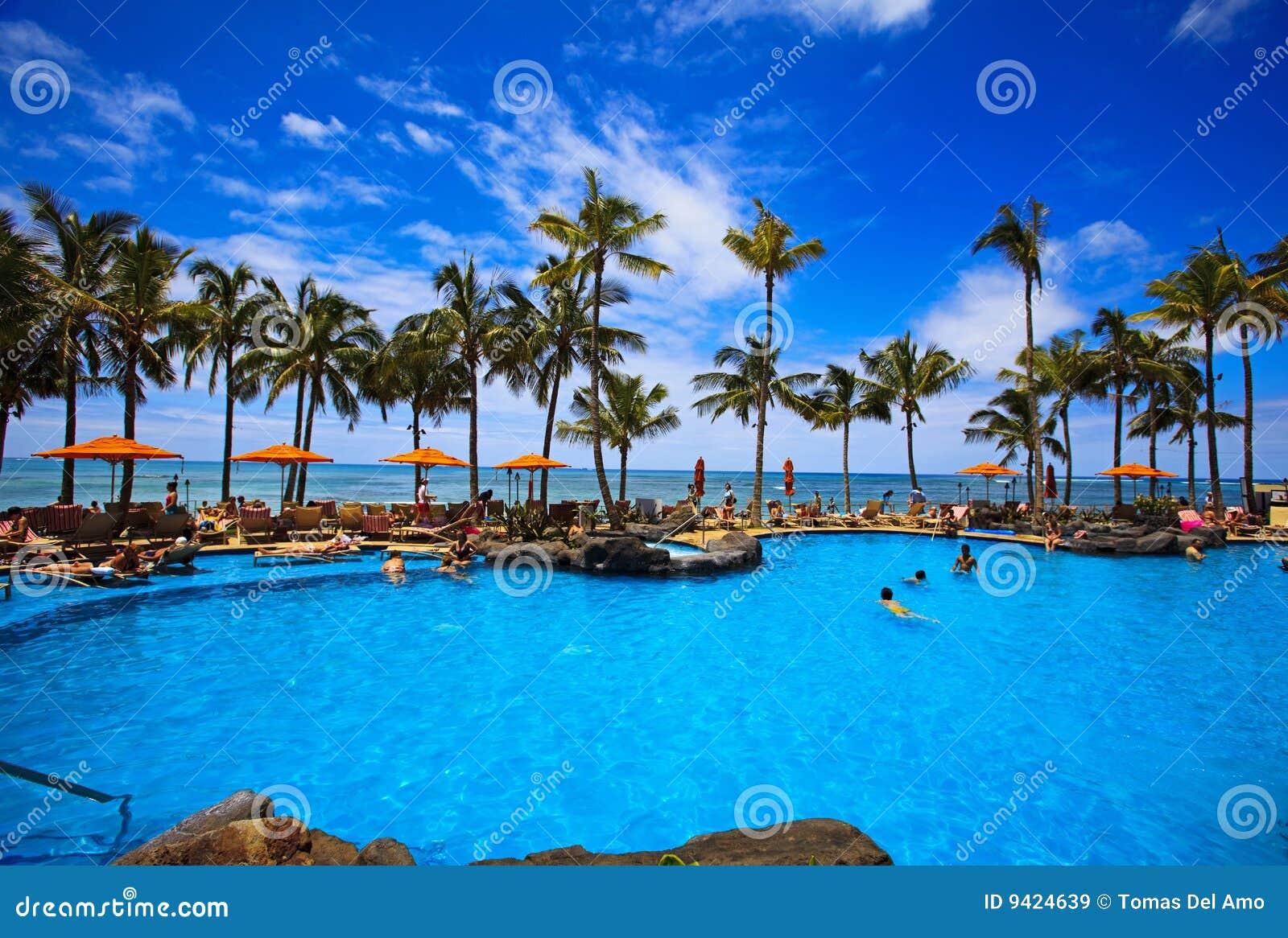 Swimming pool on waikiki beach hawaii royalty free stock for Pool design honolulu