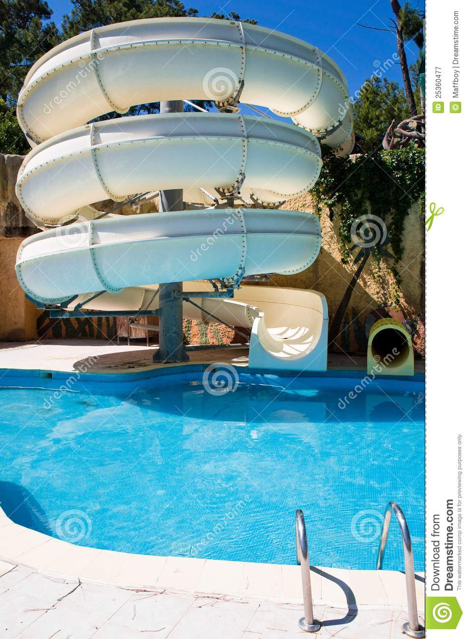 Swimming Pool With Water Slide Stock Image Image 25360477