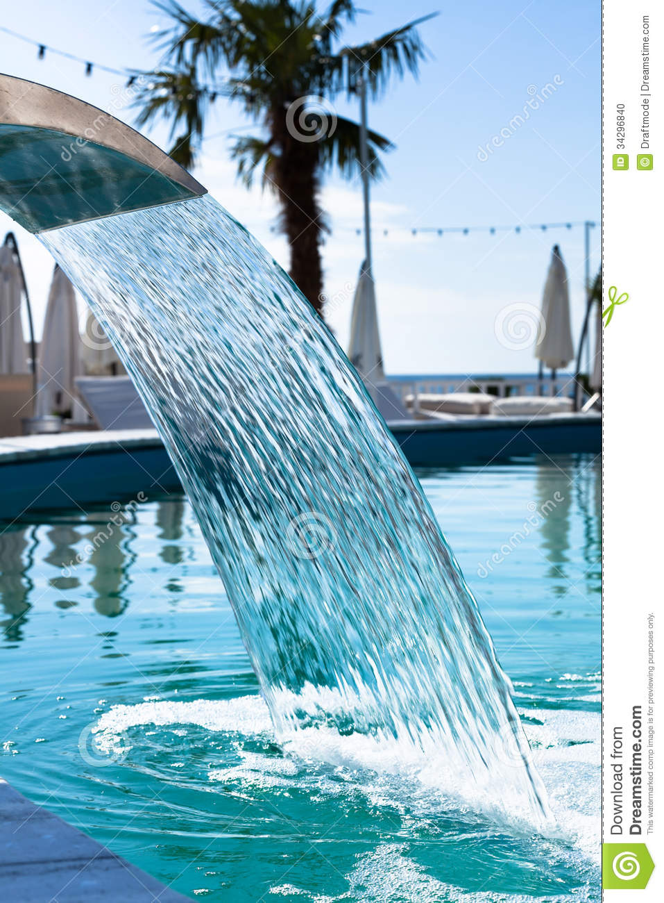 Swimming Pool Waterfall Jet Stock Photo Image Of Shower Empty 34296840