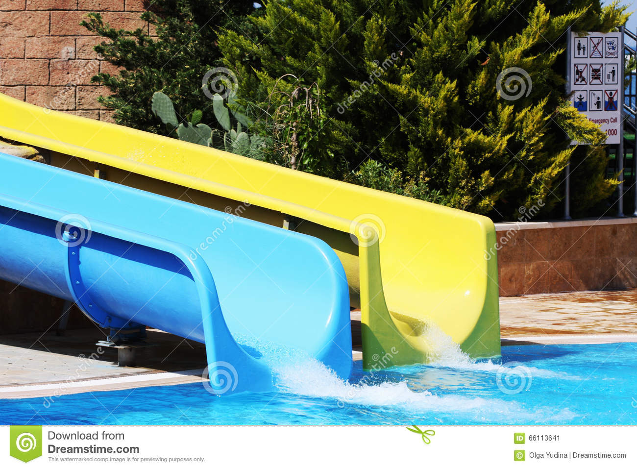 Swimming Pool With Waterslides Stock Image - Image of marine ...