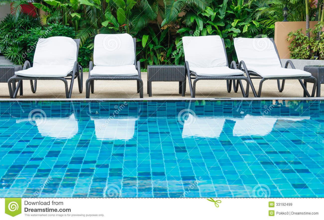 Swimming Pool With White Beach Chairs Royalty Free Stock Images Image 33192499