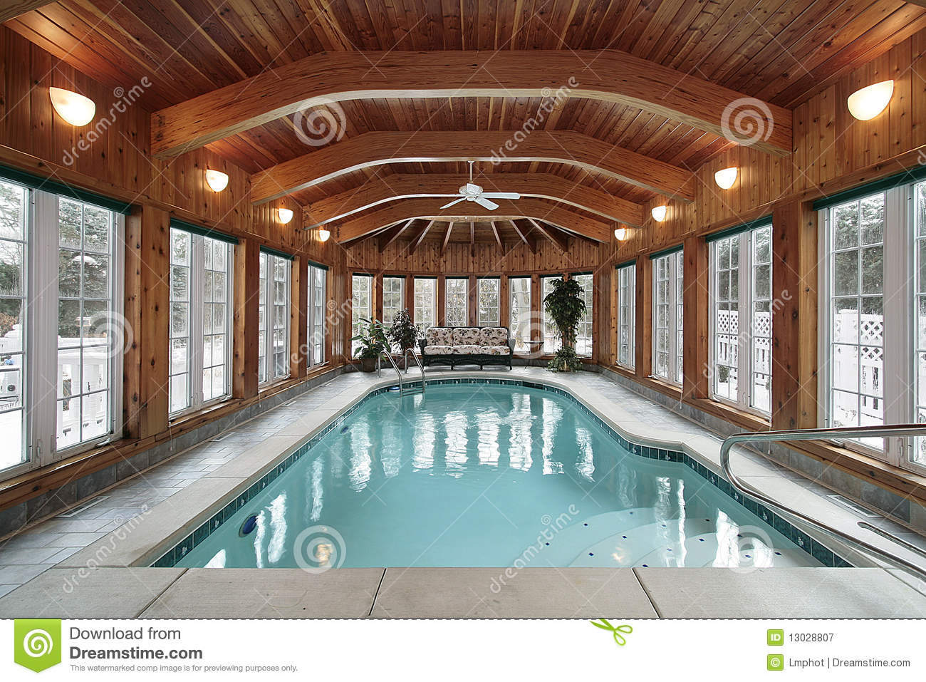 Swimming Pool With Wood Ceiling Beams Stock Image Image