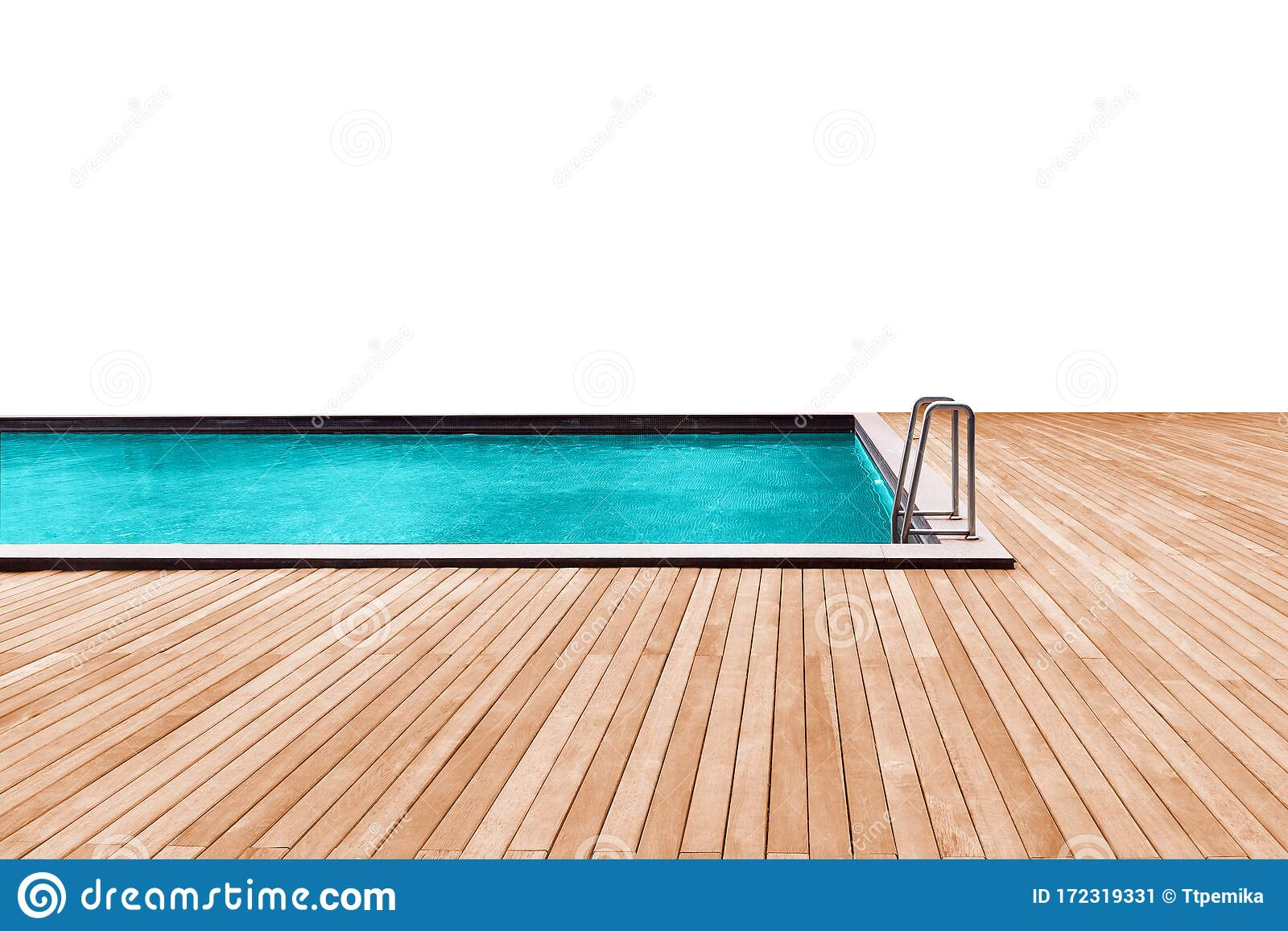 Swimming Pool With Wooden Deck And Stainless Stair Stock Image Image Of Stair Modern 172319331