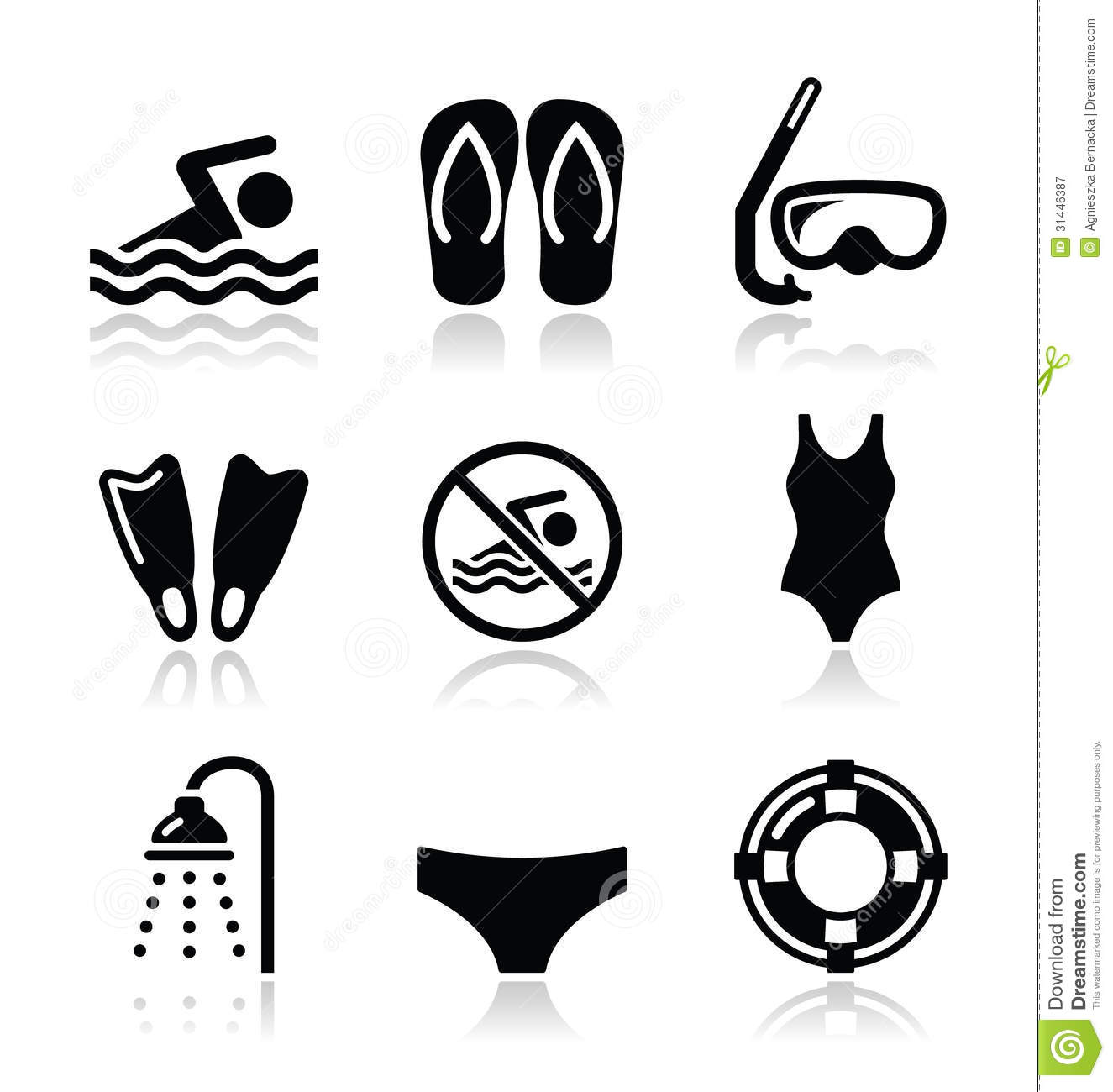 Swimming, Scuba Diving, Sport Vector Icons Set Stock ...