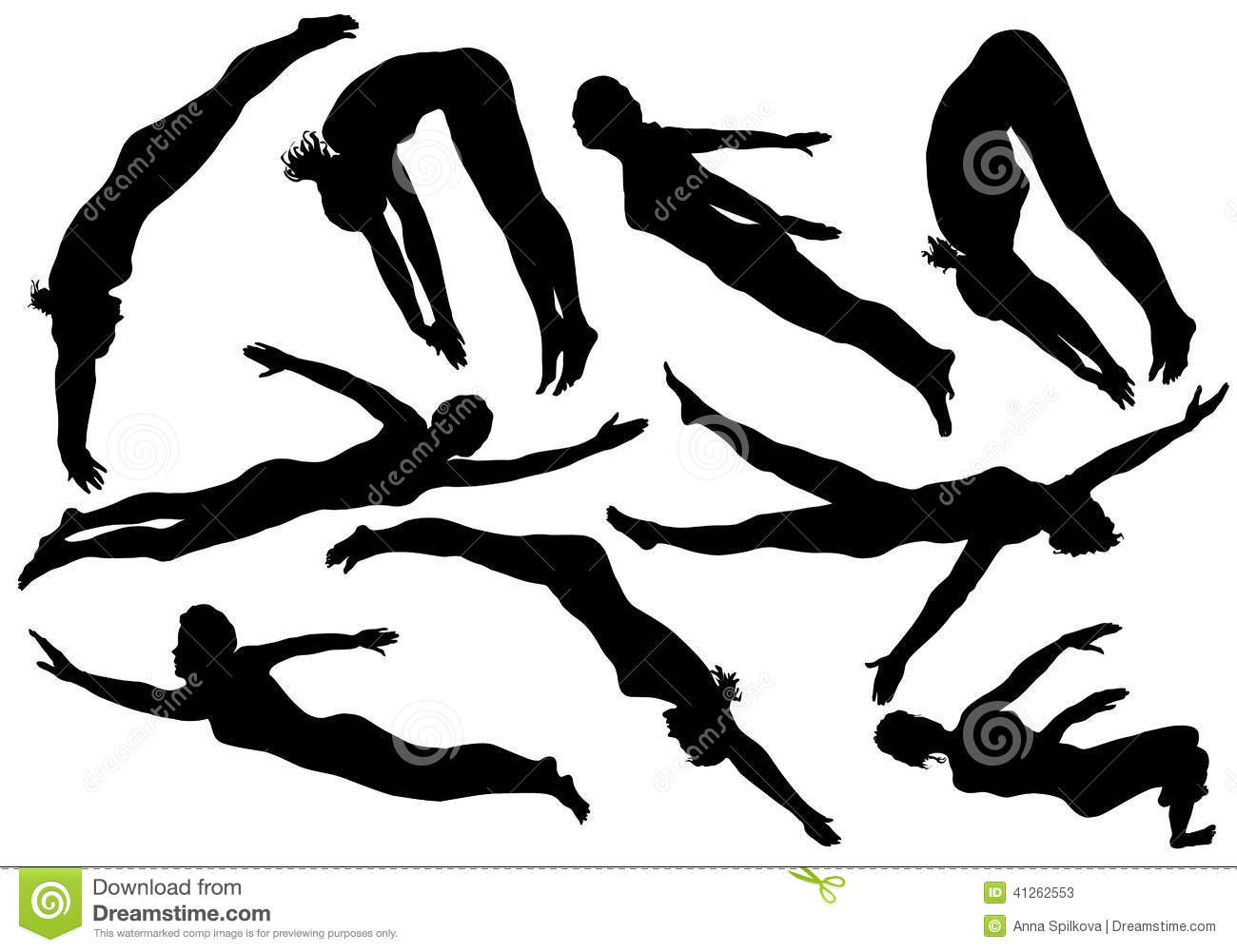 Swimming Silhouettes Of Women Stock Vector - Image: 41262553