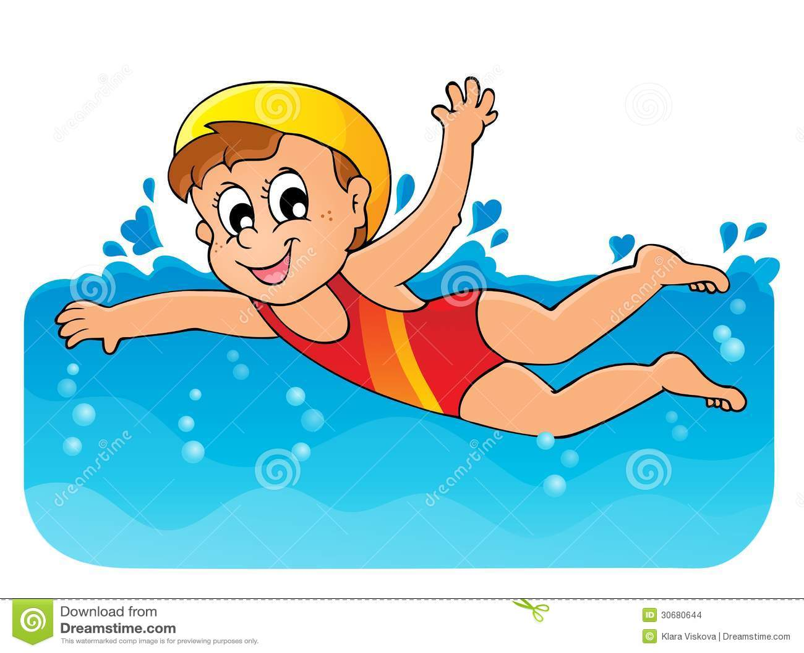 Swimming Theme Image 1 Stock Vector. Illustration Of Girl