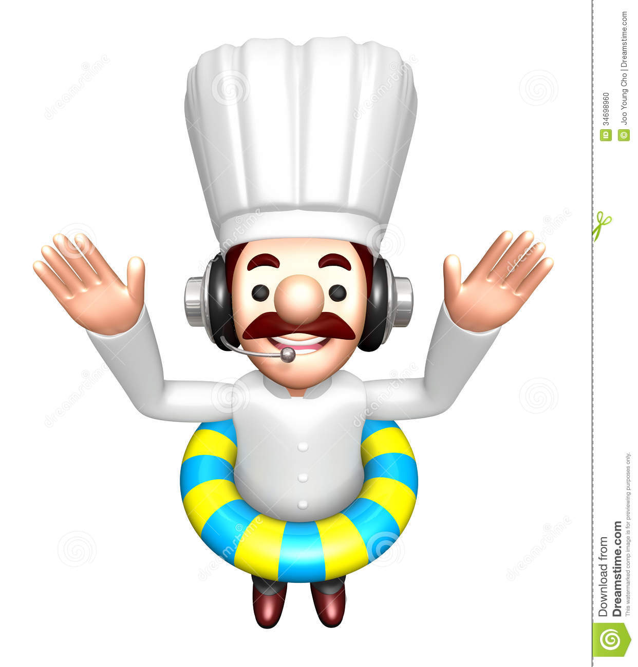 A swimming tubes in 3d chef character work and job for Character designer job