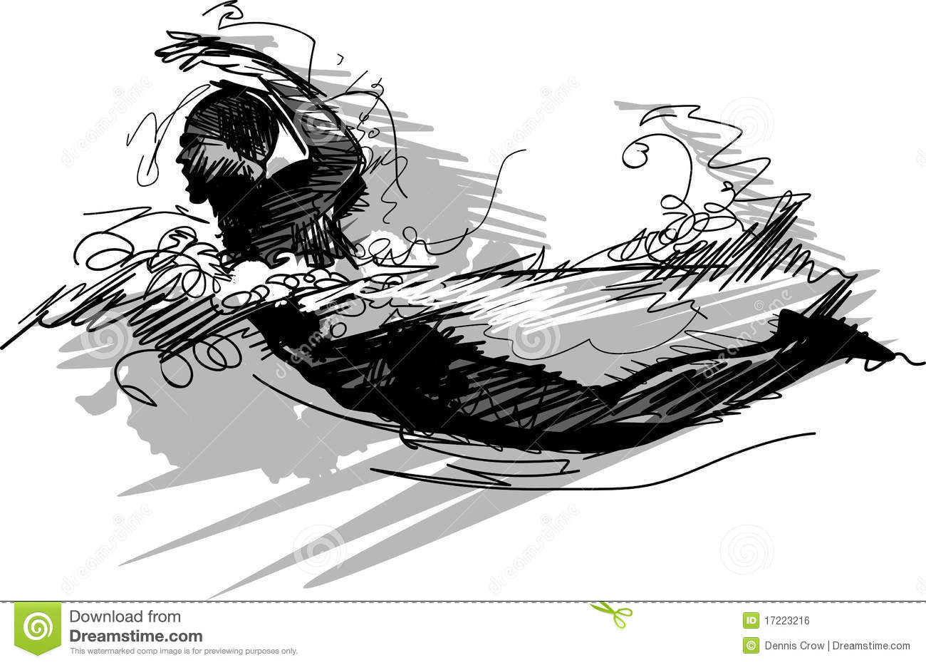 Swimming Vector Silhouette Illustration Royalty Free Stock